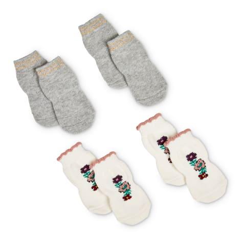 Bond & Co. Sparkly Grey & Pink Floral-Embroidered Dog Socks