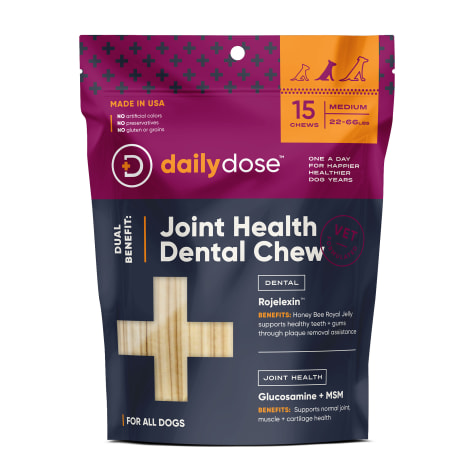 daily dose Dual Benefit Dental + Joint Health Chews for Medium Dogs