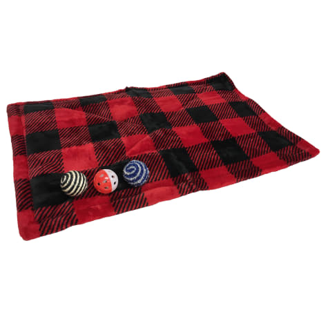 Coleman Buffalo Check Warming Mat with Toys for Cats