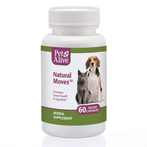 PetAlive Natural Moves Veggie Capsules Natural Herbal Supplement Promotes Bowel Health and Regularity for Pets