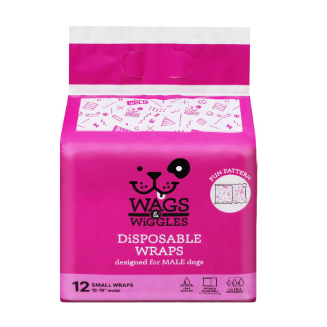 Wags & Wiggles Small Disposable Wraps for Male Dogs