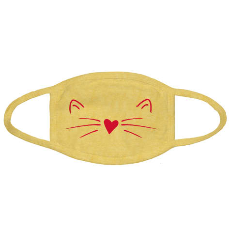 G&G Outfitters Heart Cat Graphic Yellow Cloth Face Mask
