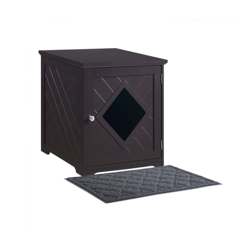 Unipaws Espresso Litter Box Furniture with Litter Mat for Cats