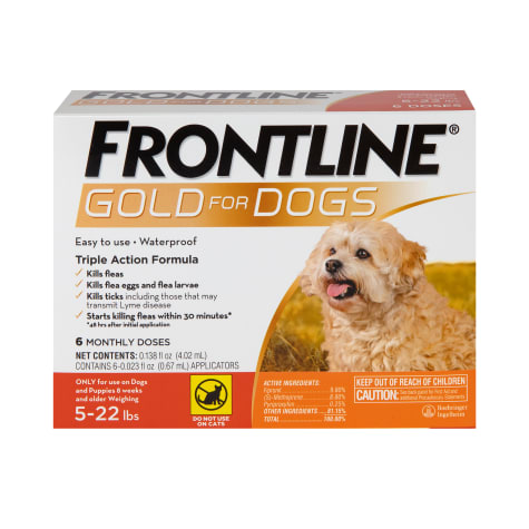 FRONTLINE Gold Flea & Tick Treatment for Small Dogs Up to 5 to 22 lbs.