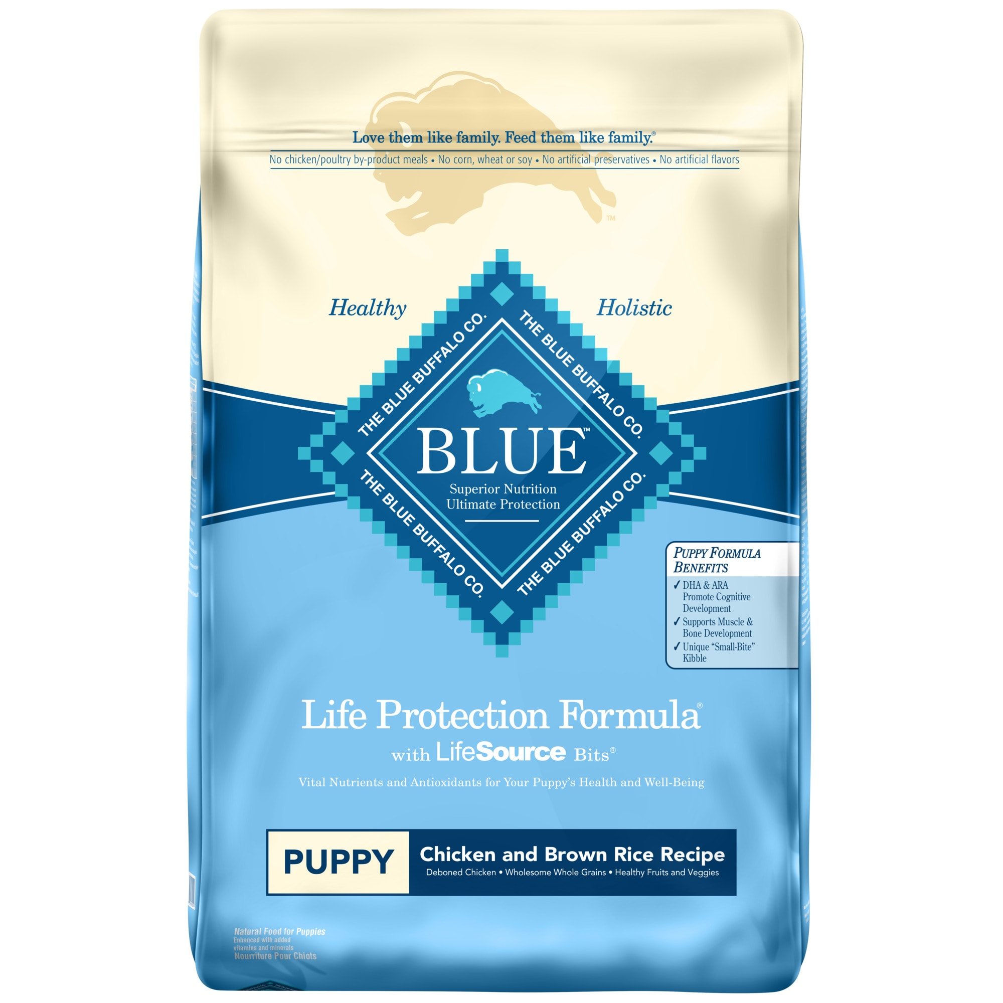 Because puppyhood is such an important stage in any dog\\\'s life, BLUE Life Protection Formula for puppies features ingredients that support the healthy growth and development of puppies. It contains the ingredients you\\\'ll love feeding as much as they\\\'ll love eating. BLUE Life Protection Formula dog food is a product of the Blue Buffalo company. Based in the United States, Blue Buffalo makes premium-quality pet foods featuring real meat, fruit and vegetables.