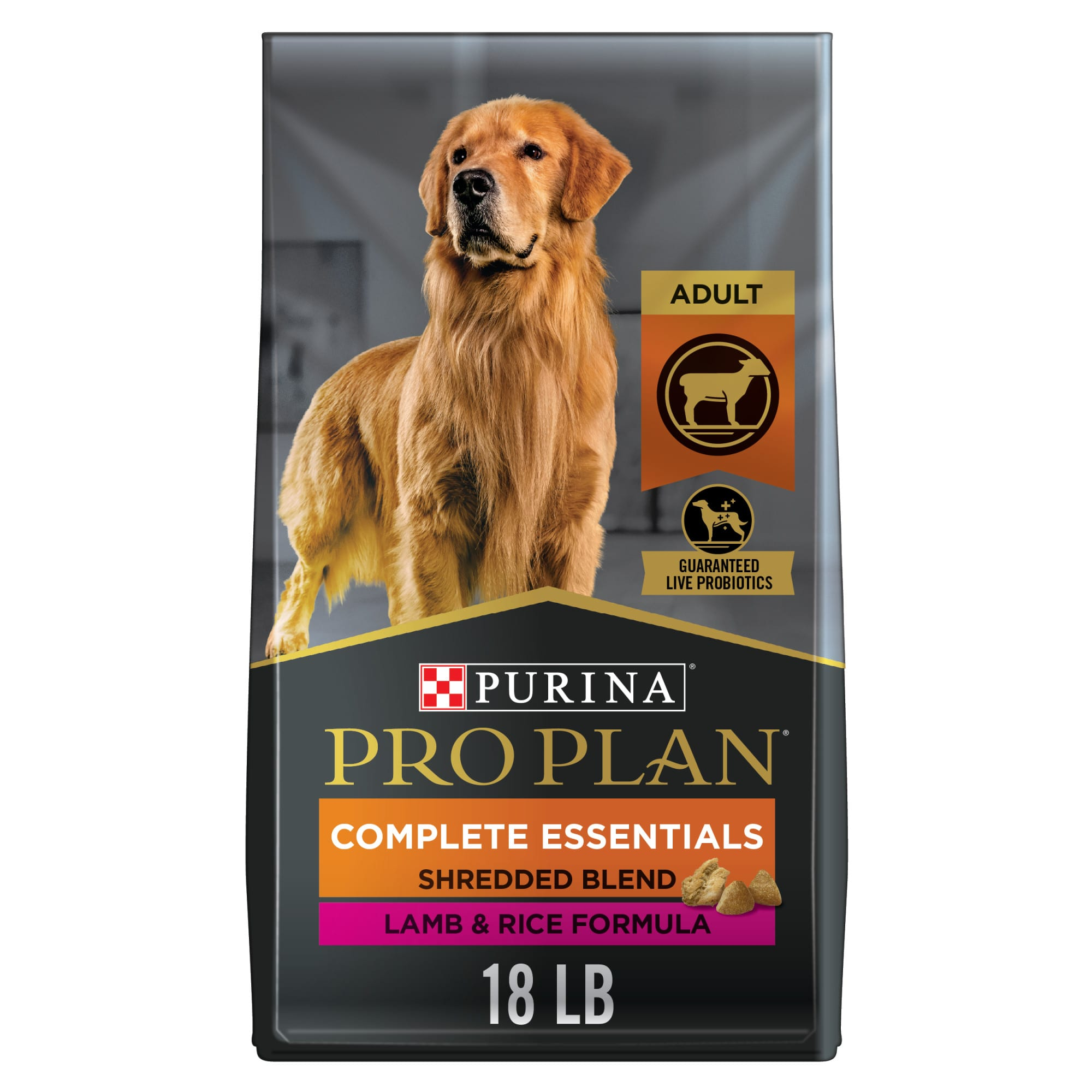 Purina Pro Plan Shredded Blend  for adults of all sizes contains real New Zealand and Australian lamb raised without hormones as the #1 ingredient in a blend of hard kibble and savory tender shredded pieces for an optimum combination of nutrition, taste and texture that dogs love. The optimal protein to fat ratio helps your dog maintain lean muscle mass and a healthy body condition. We also added wholesome grains, including rice and whole wheat, which are highly digestible sources of carbohydrates for energy and quality fiber, natural prebiotics and live probiotics to support digestive and immune health and essential antioxidants for overall health and wellness.