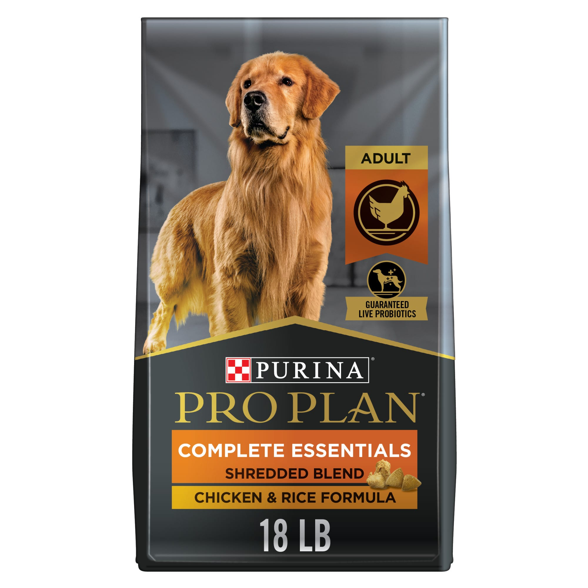 Serve the delicious food your dog expects and the high-quality ingredients you trust with Purina Pro Plan Brand Dog Food Shredded Blend Chicken & Rice Formula adult dry dog food. Real chicken as the first ingredient and rice, an excellent source of carbohydrates for energy, create a wholesome meal with great flavor. The hard dog food kibble and tender shredded pieces provide a texture that keeps him engaged with every bite. Feel good about serving your adult dog 100% complete and balanced nutrition, and take comfort knowing that each serving contains optimal levels of protein and fat that help dogs maintain an ideal body condition. Vitamin A and linoleic acid, an omega-6 fatty acid, promote healthy skin and coat to keep him looking great, and guaranteed live probiotics help to support his digestive health. Your dog\\\'s health and happiness are important to you, and now you can show it by pouring a bowl of this Purina Pro Plan COMPLETE ESSENTIALS formula at mealtime.