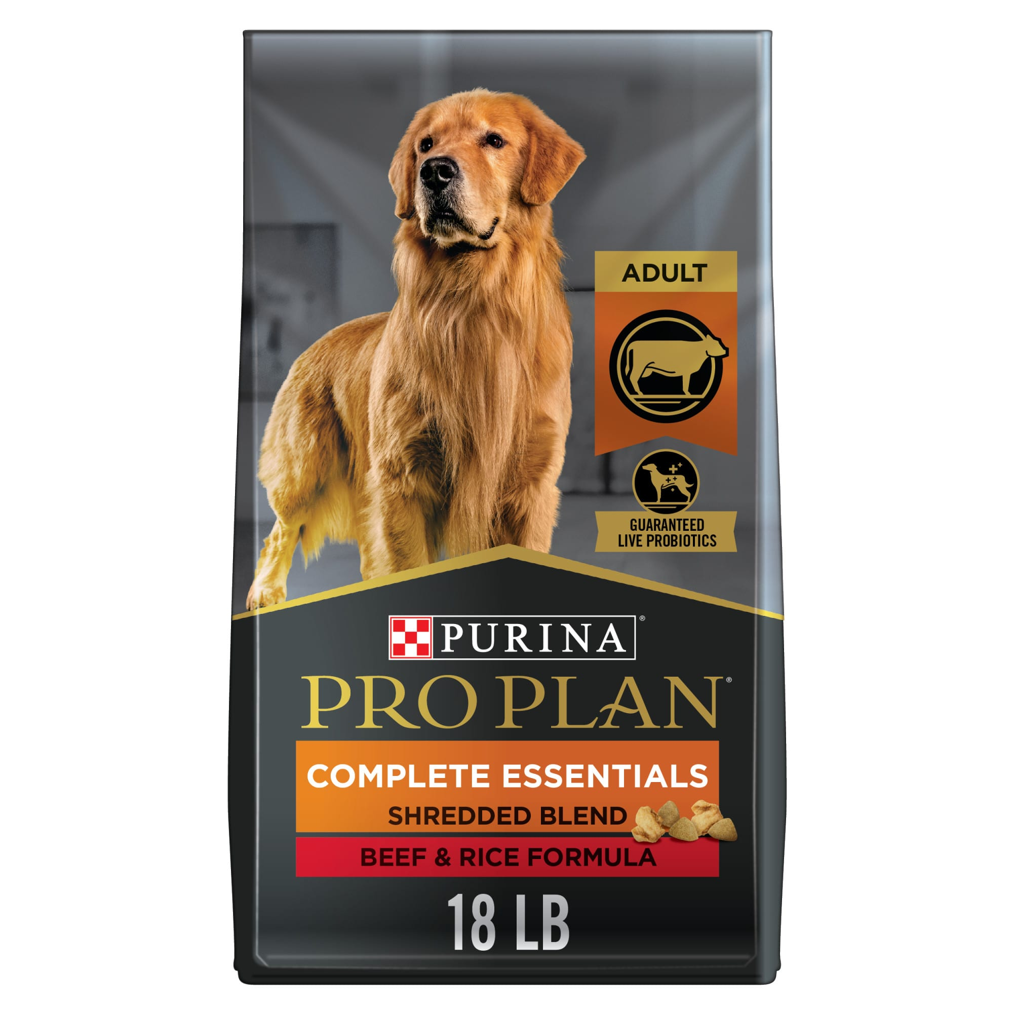 Pro Plan Shredded Blend formula offers the nutritional extras you\\\'ve come to expect from Pro Plan. We start with real beef as the #1 ingredient in a multi-textured blend of hard kibble and savory tender shredded pieces--for an optimum combination of nutrition and taste. Then we added wholesome grains, including rice and whole wheat, which are highly digestible sources of carbohydrates for energy and quality fiber sources to promote easy cleanup. Plus, we include high levels of antioxidants for overall health and wellness and an optimal protein: fat ratio to help your dog maintain lean muscle mass and a healthy body condition. Moreover, we carefully select each ingredient for its nutritional value and to ensure it meets our strict quality standards, as well as yours.