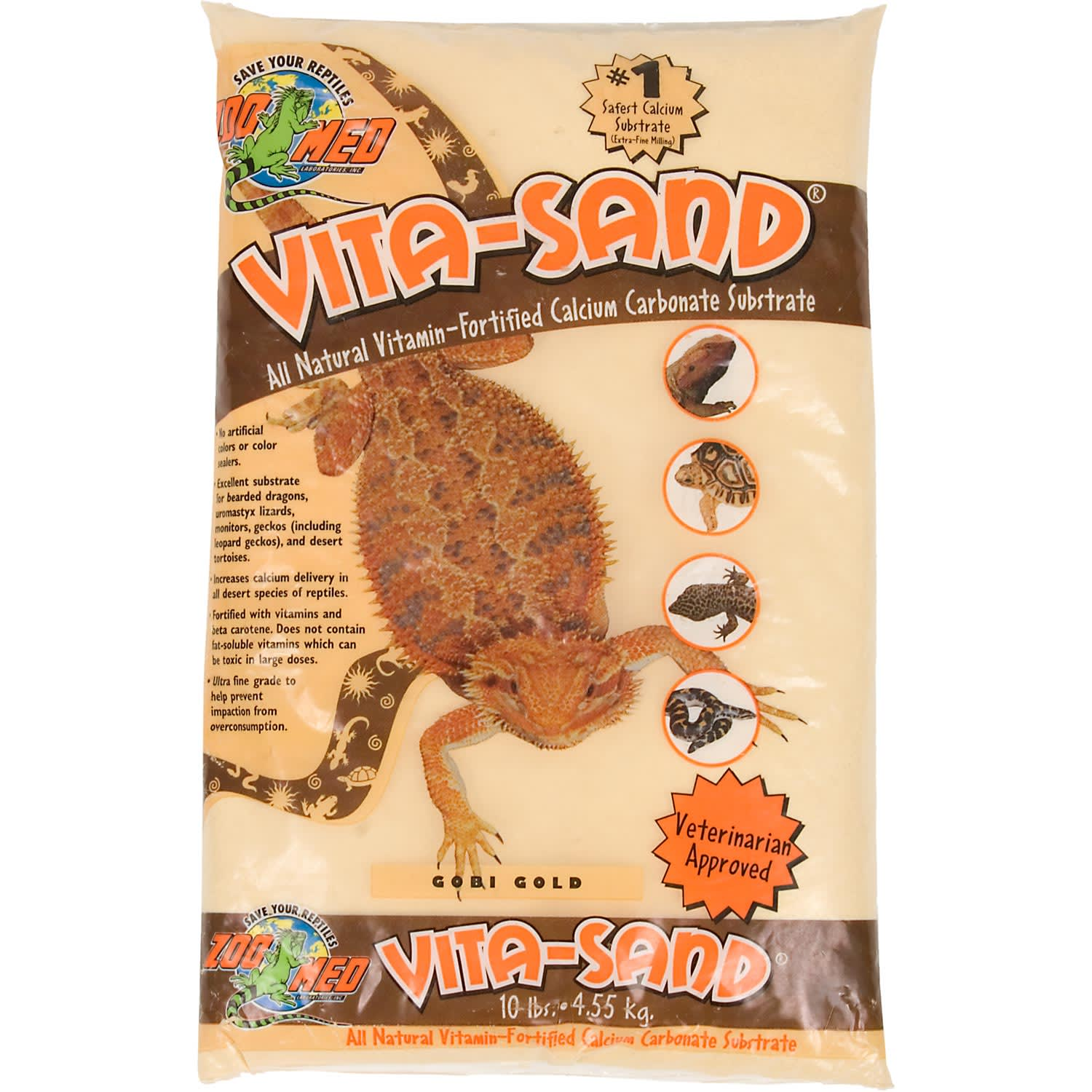 1 All natural vitamin-fortified calcium carbonate substrate increases calcium delivery in desert species of reptiles. Fortified with vitamins and beta carotene for increased health benefits. Veterinarian approved.