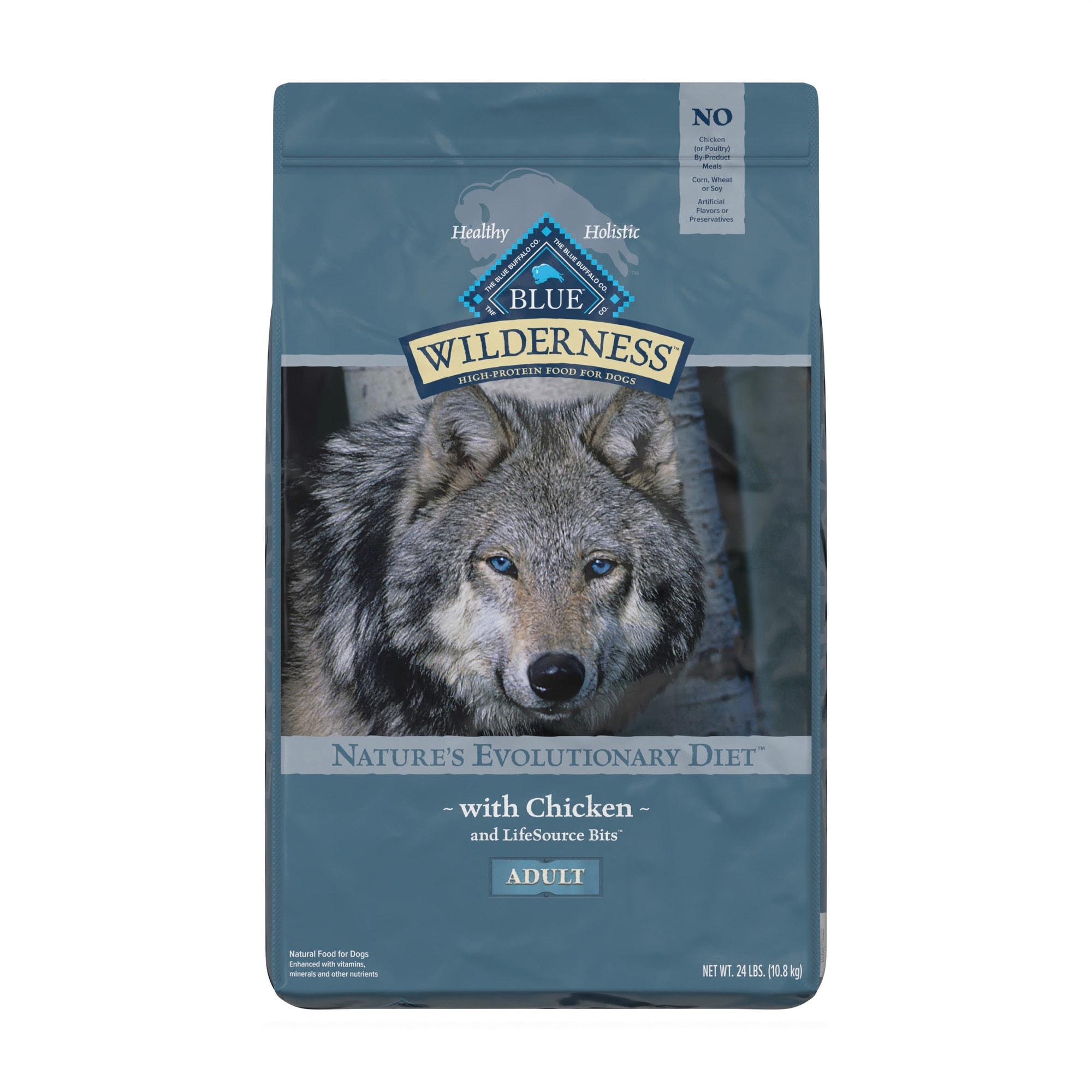 Blue Buffalo Wilderness Natural Adult High Protein Grain Free Chicken Dry Dog  Food, 24 lbs. | Petco