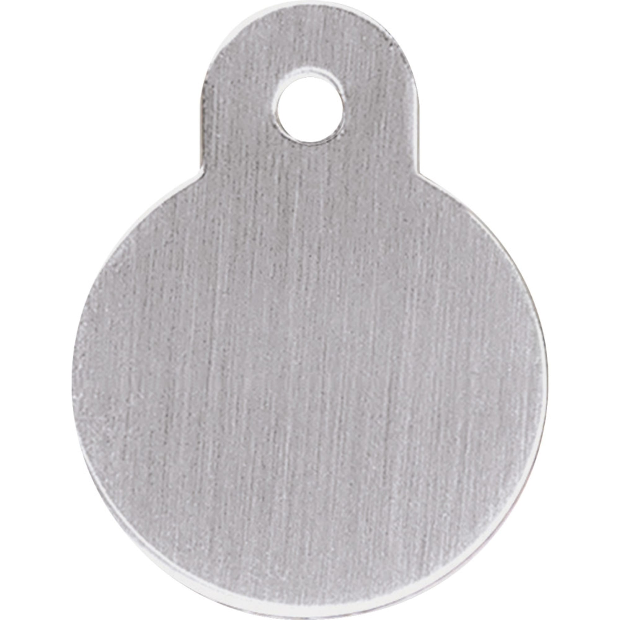 Quick-Tag Small Brushed Chrome Circle Personalized Engraved Pet ID Tag