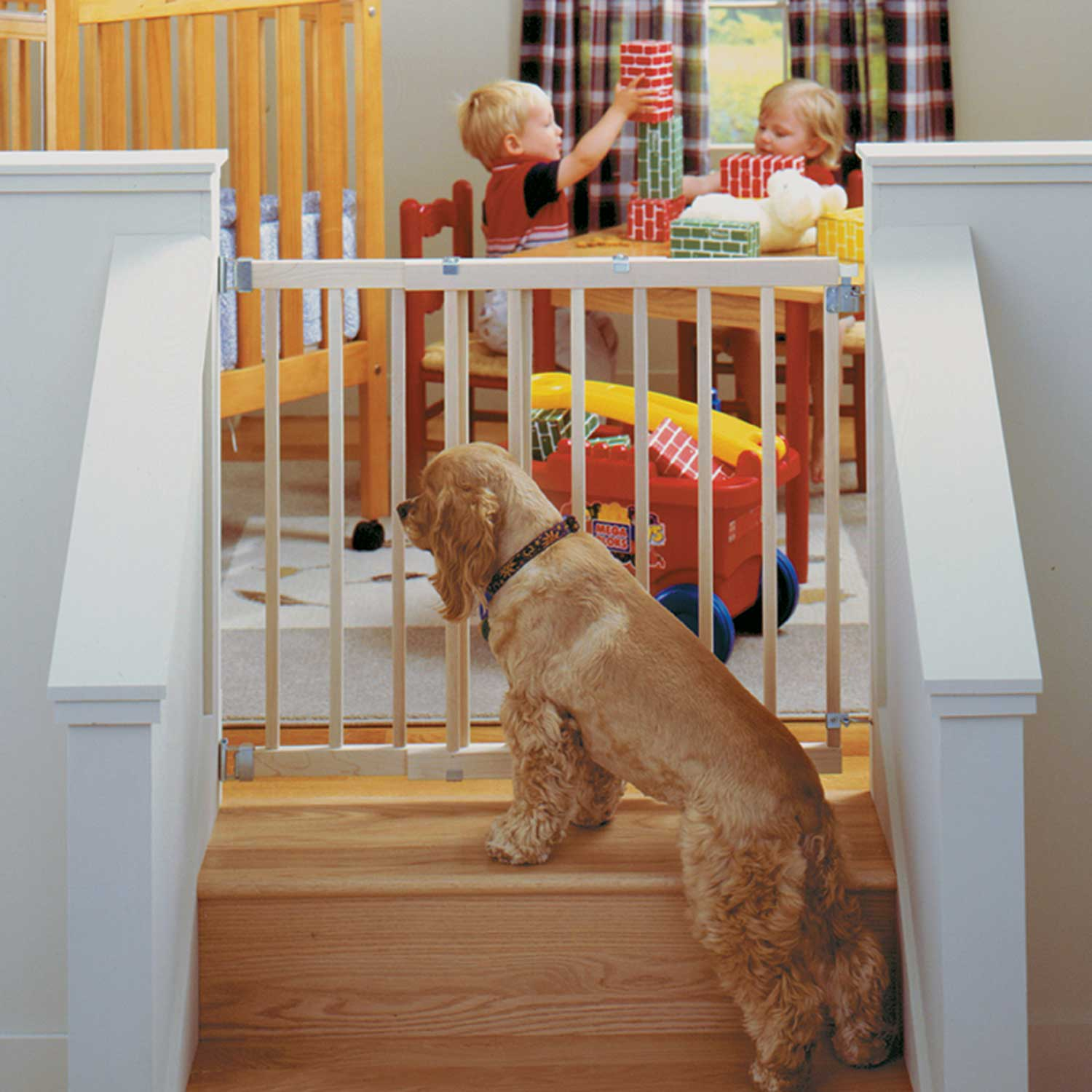 North State Natural Wood Extra Wide Large Swing Baby Gate Pet Child Dog Safety