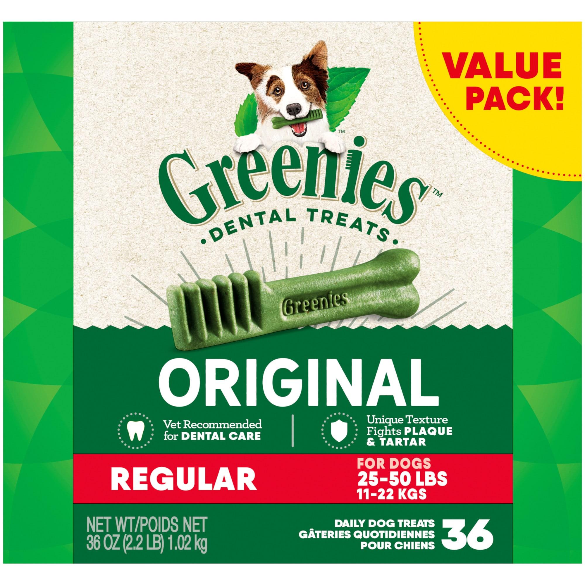 Greenies Original Regular Natural Dog Dental Care Chews Oral Health Dog Treats 36 Oz Count Of 36 Petco