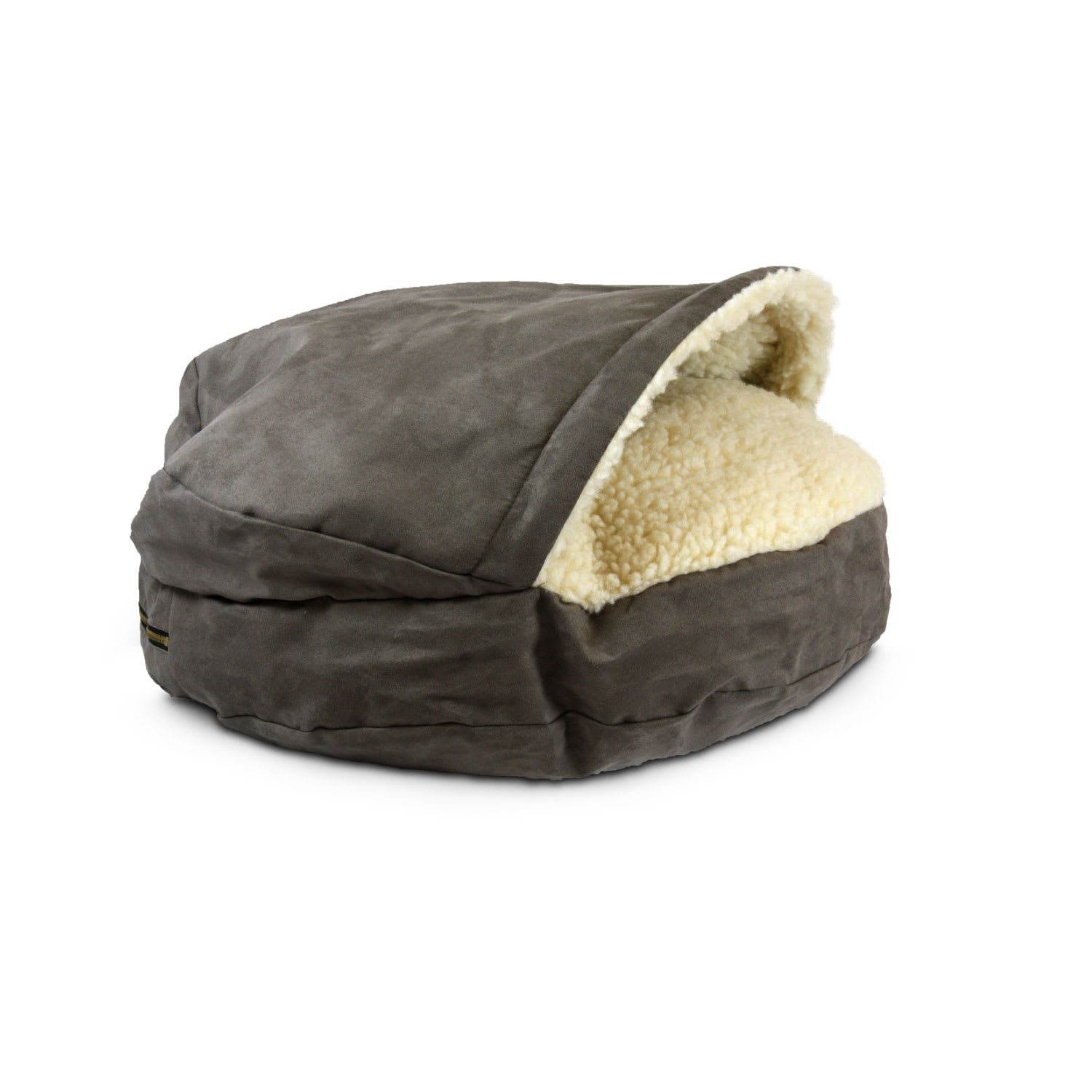 """Warming Heated Large Cat and Small Dog Bed with Hood Beige Round 20/"""" Diameter"""