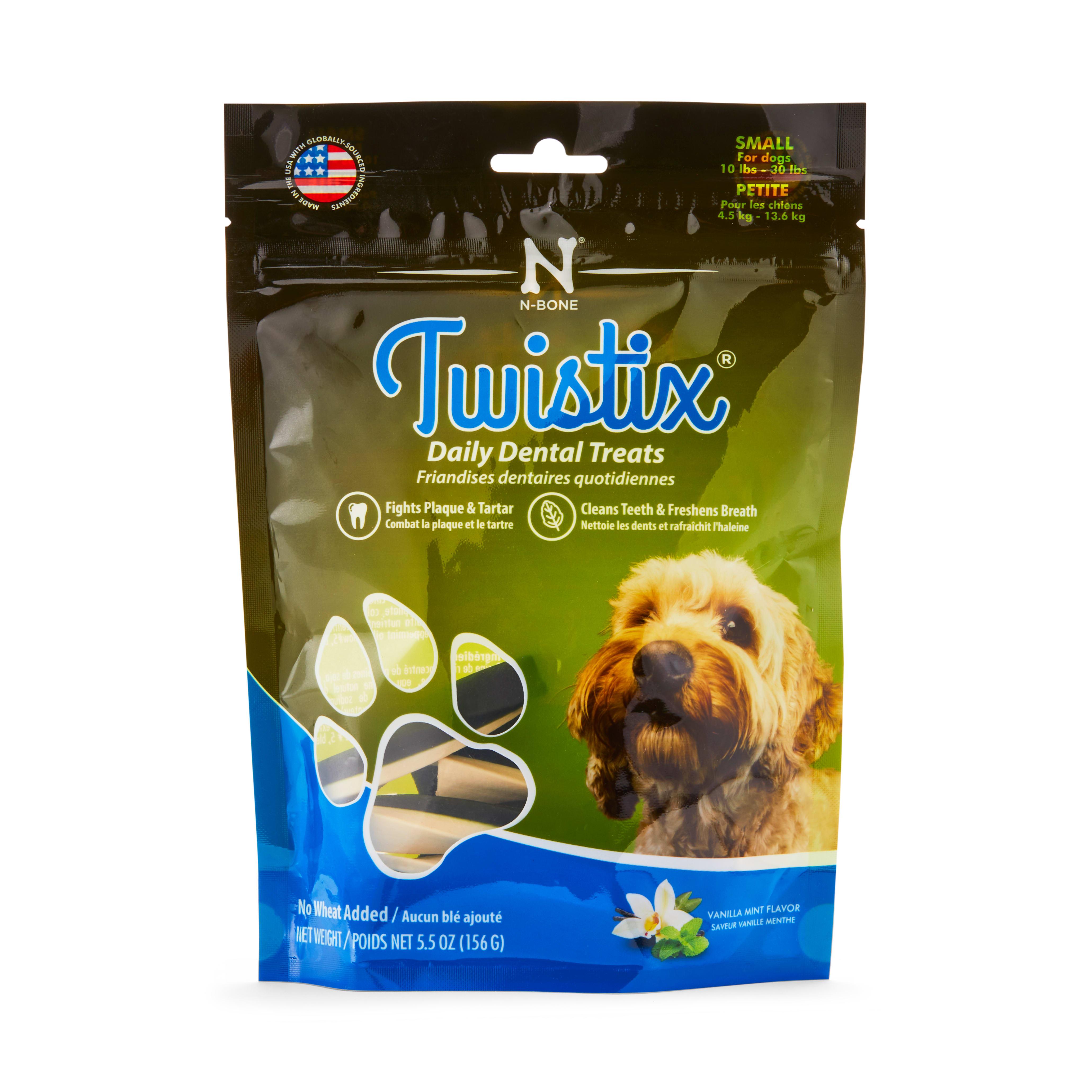 Image of Twistix Vanilla Mint Dental Dog Treats, 5.5 oz, Small