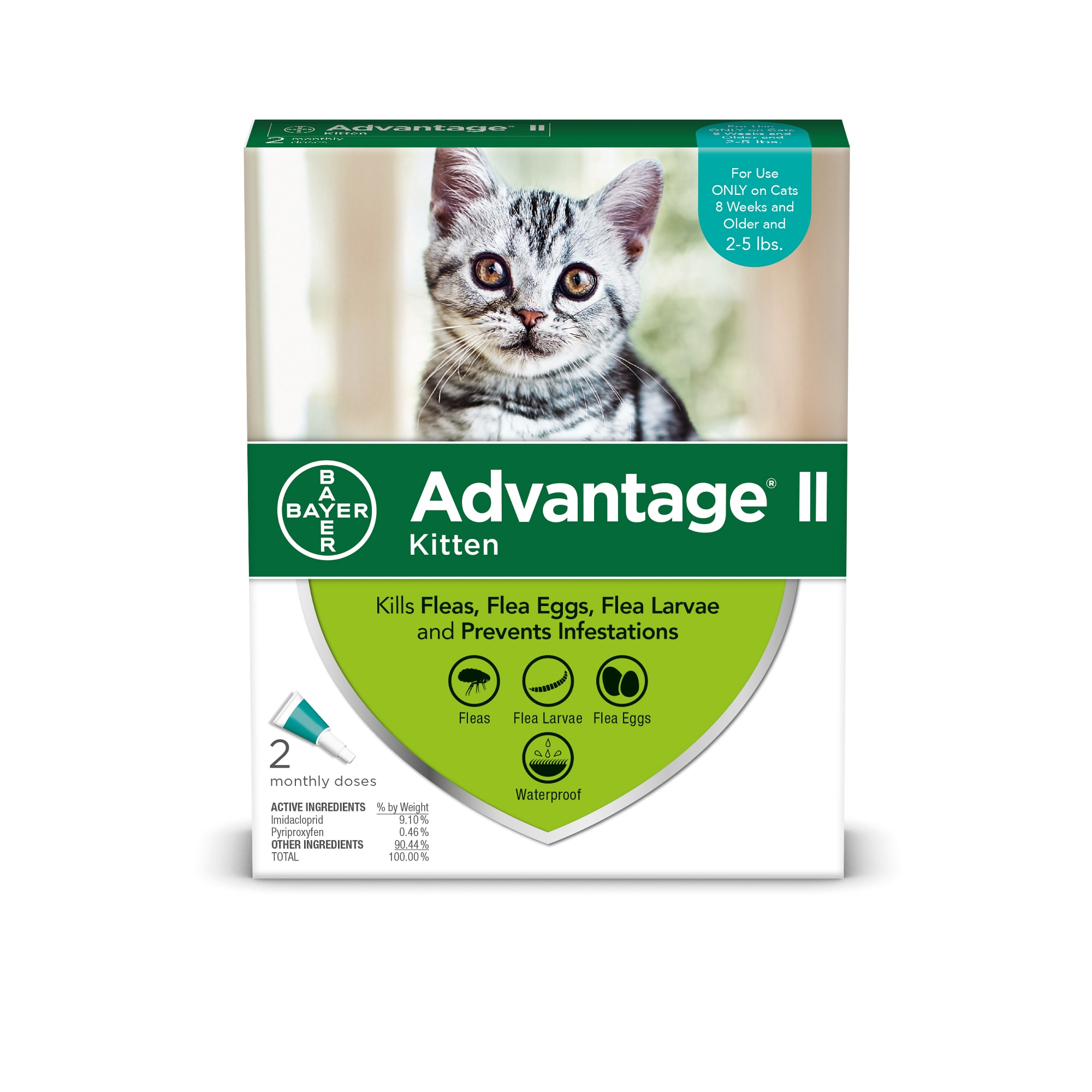 Advantage Ii Once A Month Cat Kitten Topical Flea Treatment 2 To 5 Lbs Petco