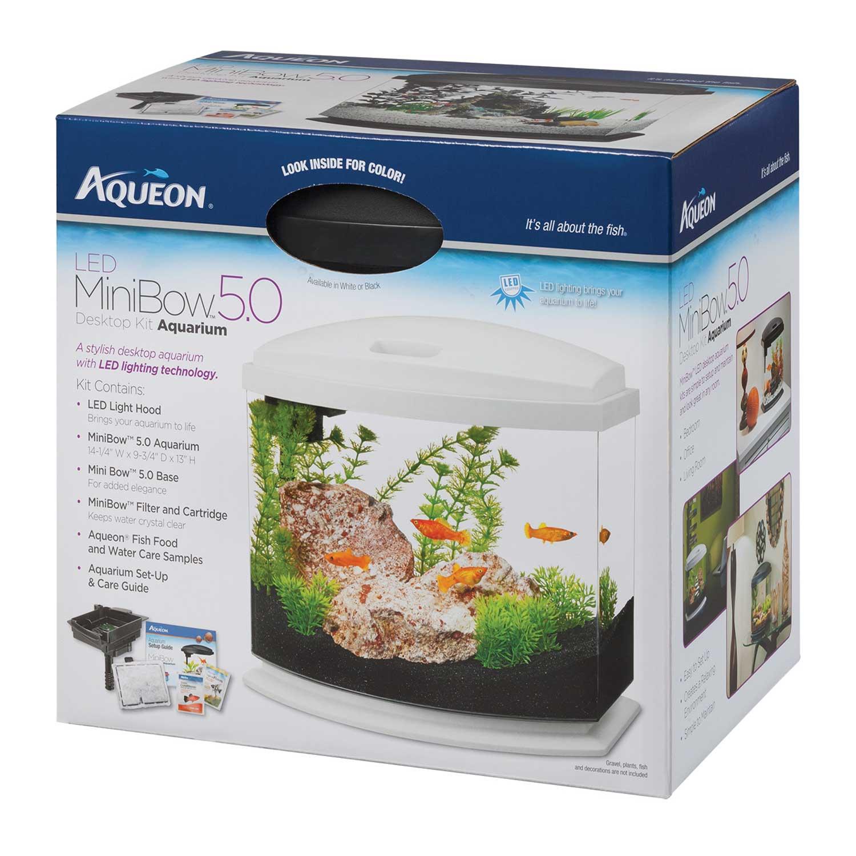 Aqueon 5 Gallon Minibow Led Desktop Fish Aquarium Kit White Petco