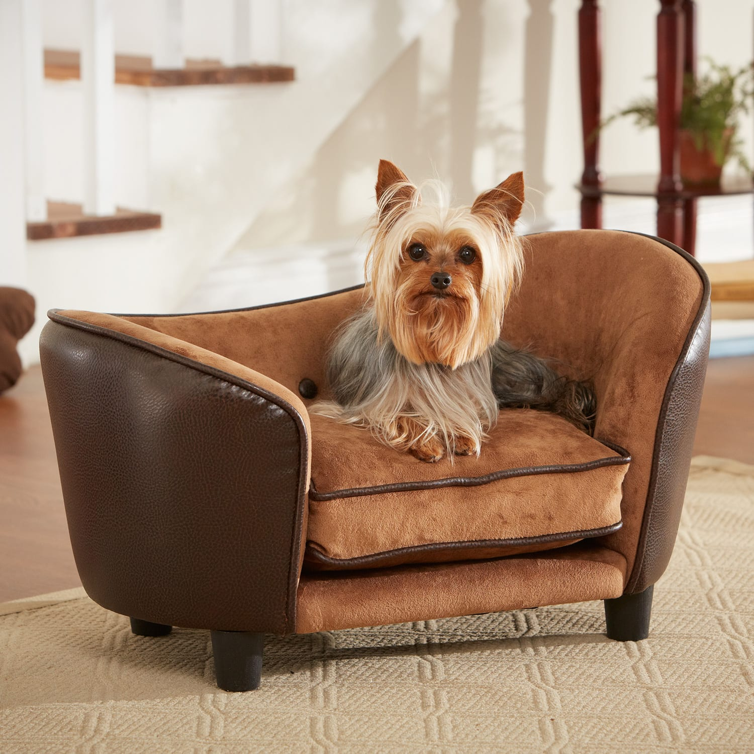 Ultra Leather Snuggle Dog Bed In Brown