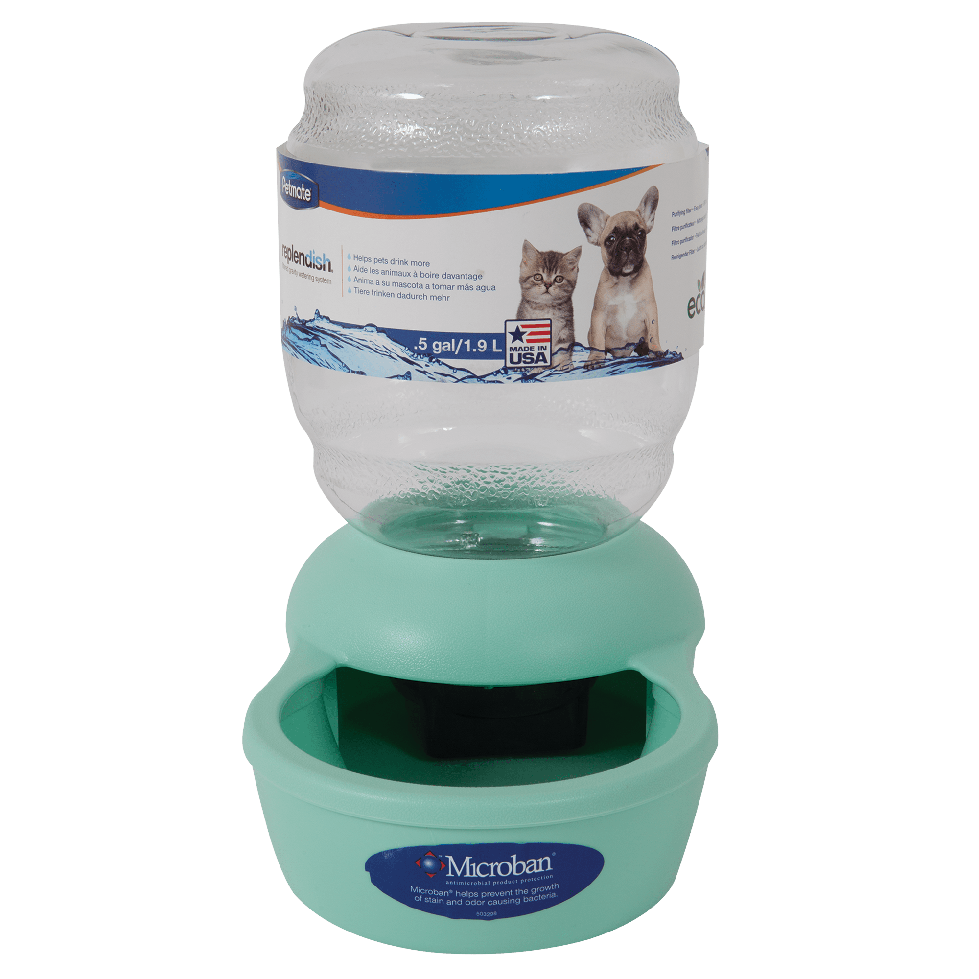 Petmate Replendish Gravity Waterer Mint Cat Bowl 0 5 Gallon Petco