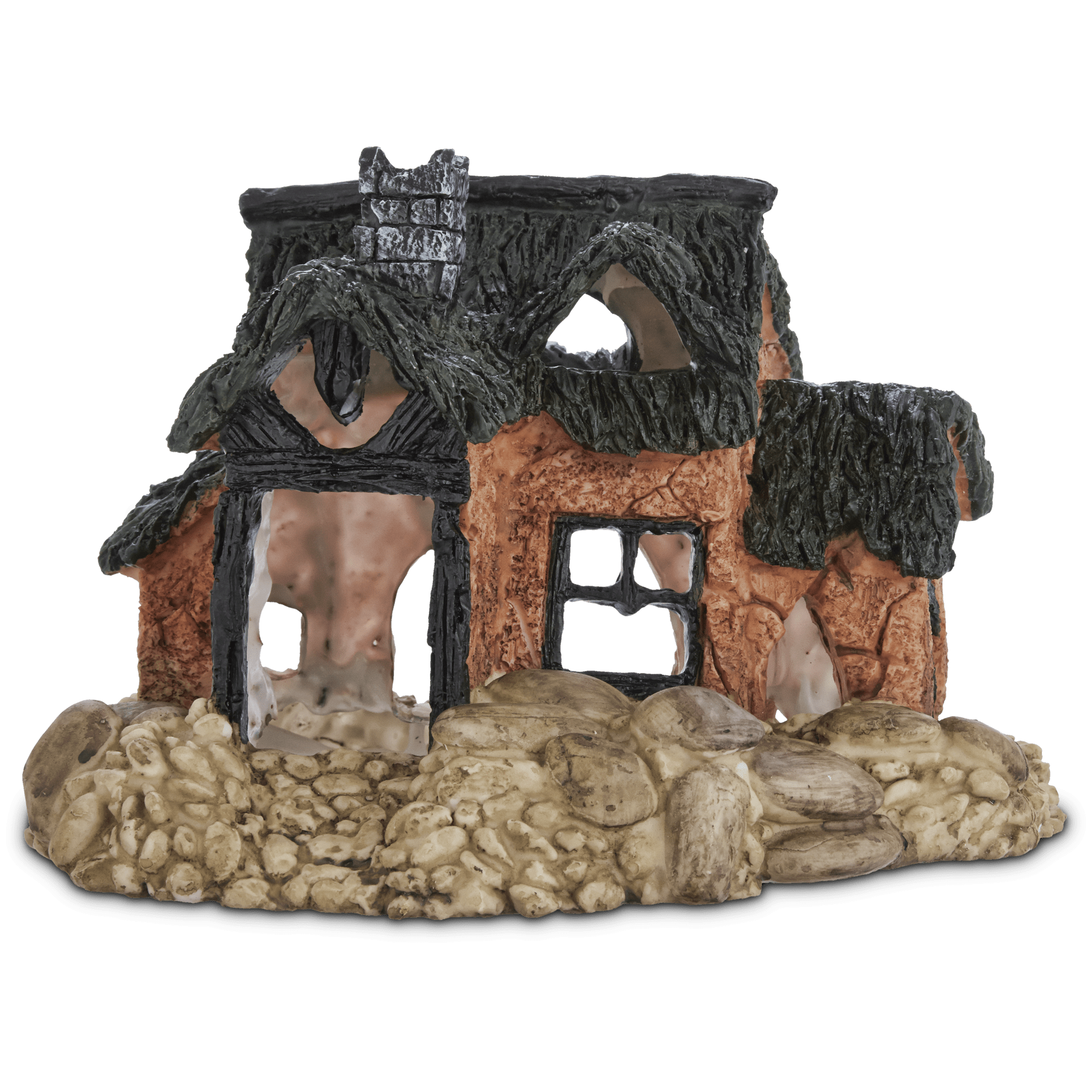 Detailed fish farm home adds a country charm. Includes swim through holes for added fun. Perfectly sized for medium-large freshwater tanks. Made of non-toxic, fish-safe materials and colors.