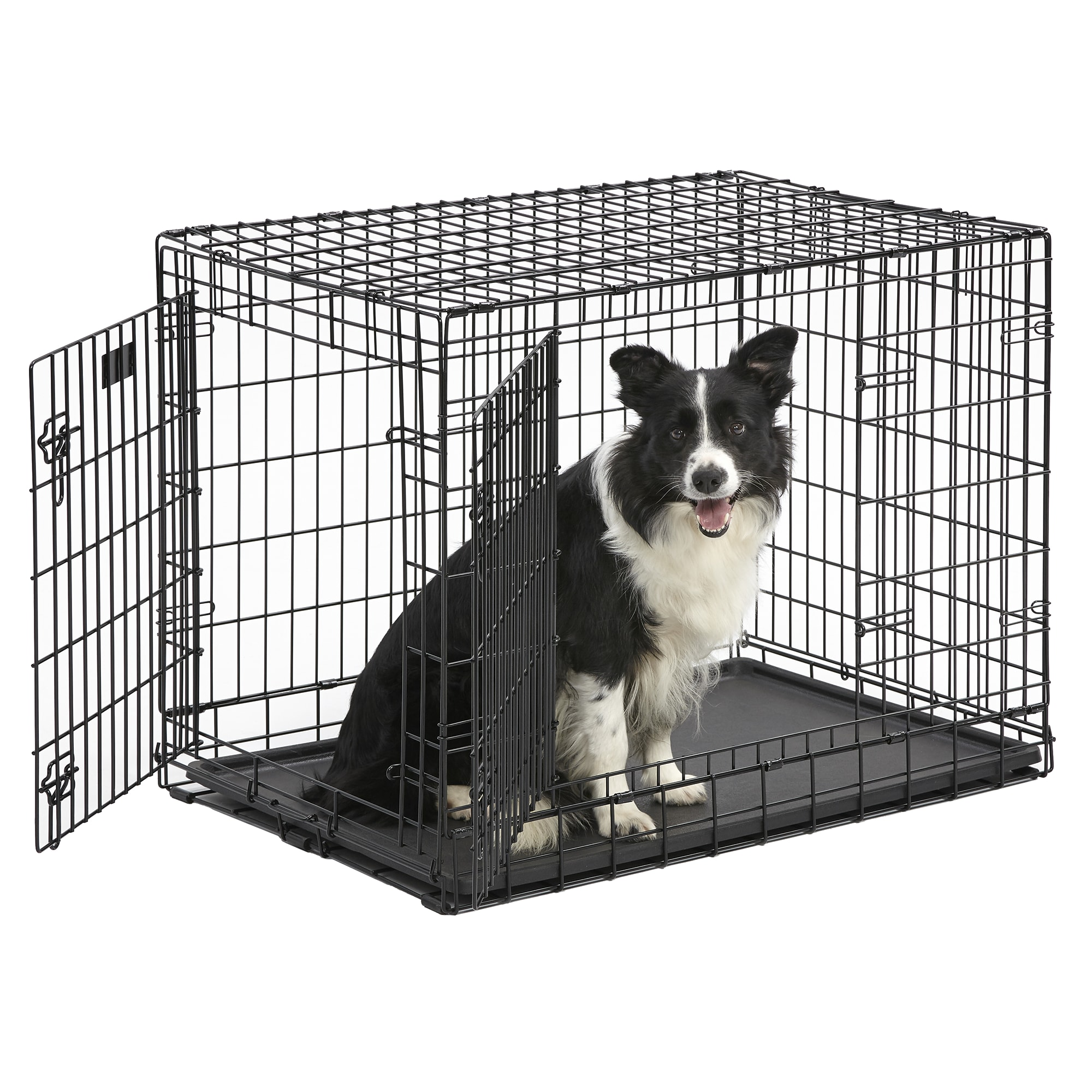 Midwest Ultima Pro Double Door dog crate uses professional gauge steel construction to provide the ultimate level of durability, function, and security for you pet. The fold and carry configuration requires no tools for assembly and can be set up or folded down in seconds and transferred with easy-to-attach plastic carrying handles, making it perfect for dog crate trainers, dog show competitors, professional breeders, and dog lovers and enthusiasts alike. Two doors allow easy access to your pet either thru the traditional front door or side door. With two access points the crate can be easily placed in your home or your car and is convenient to the often small spaces provided at busy dog shows. The slide-out plastic pan allows easy removal for cleaning and the dual slide bolt latches provide safety and security for your pet inside and furniture or other objects on the outside.