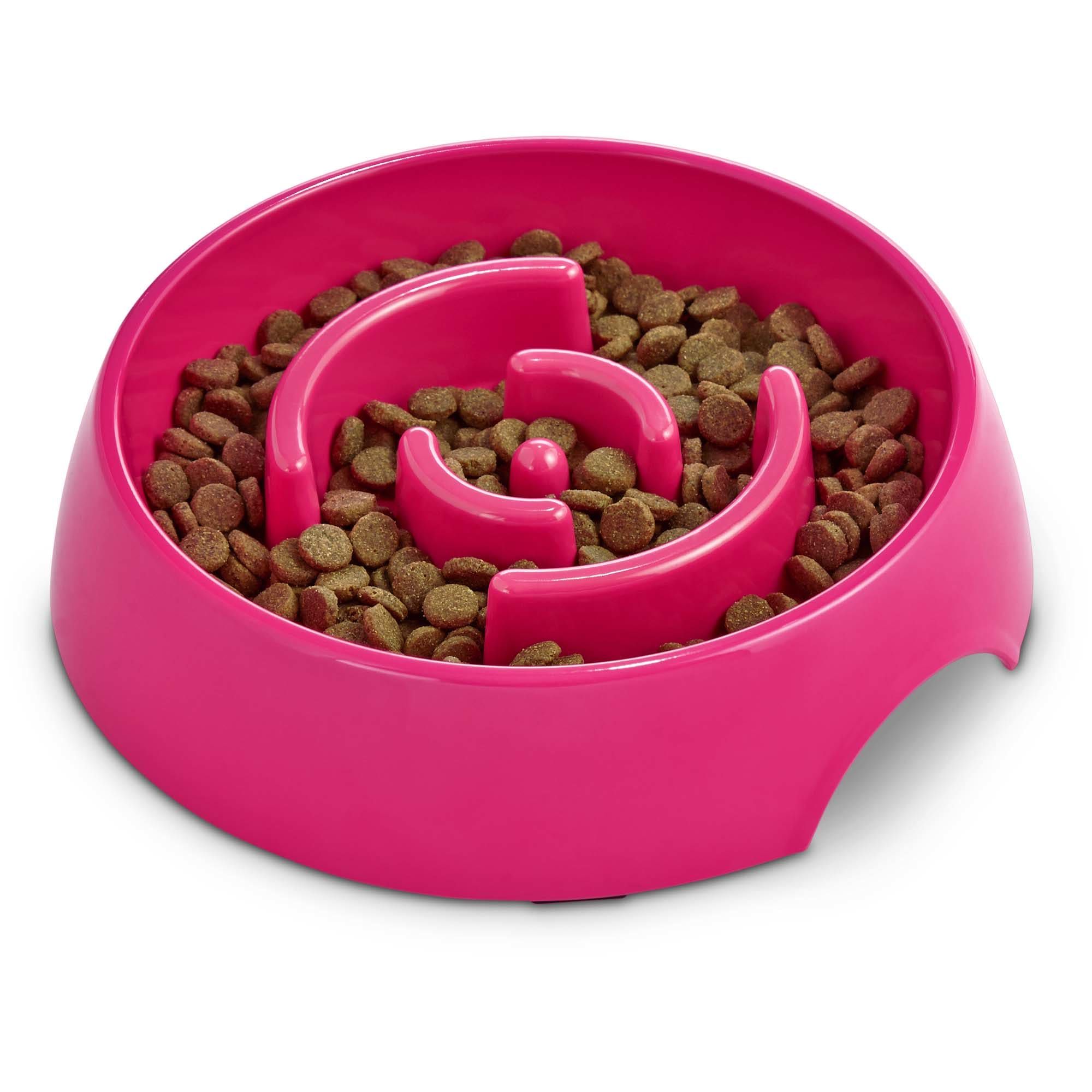Harmony Pink Plastic Slow Feeder Dog Bowl Large Petco