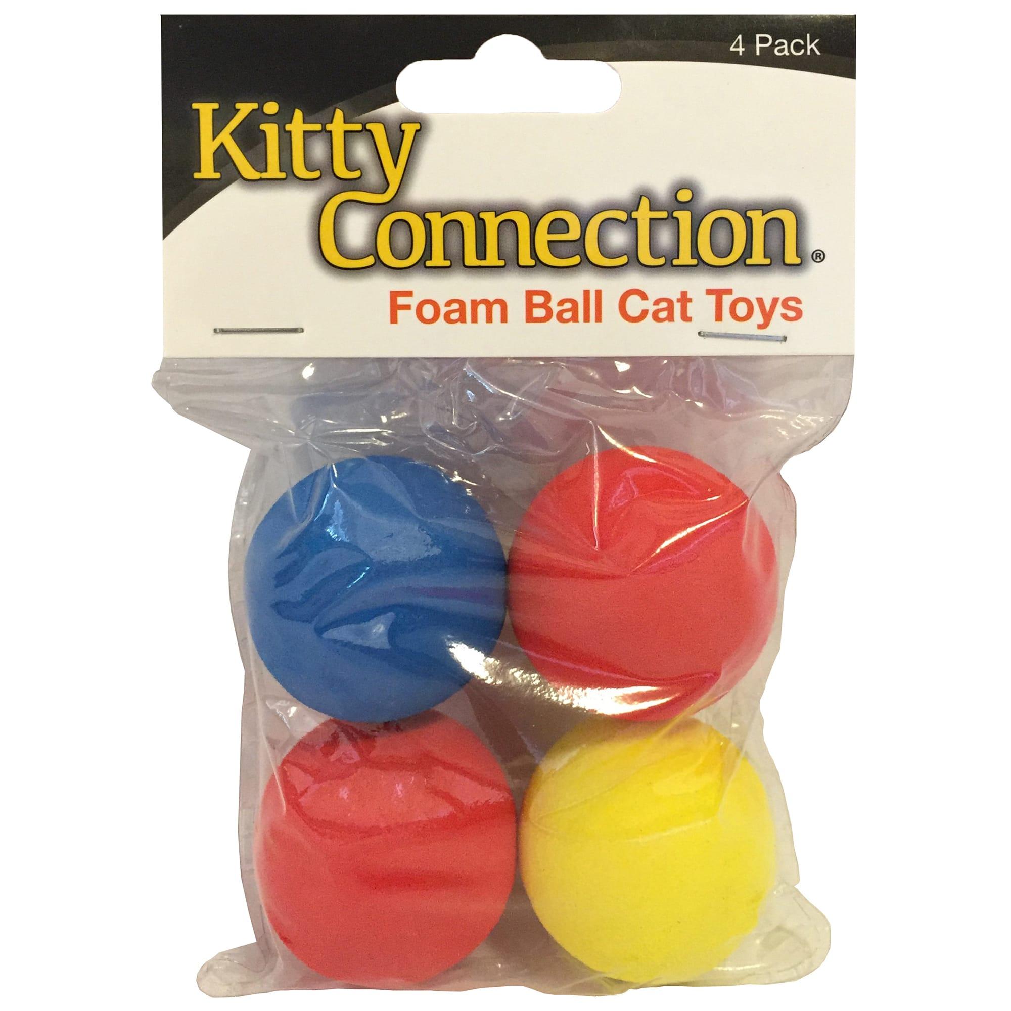 4 Pack Multicolor Boss Pet 04467 Scruffs Colorful Kitty Springy Foam Sponge Balls