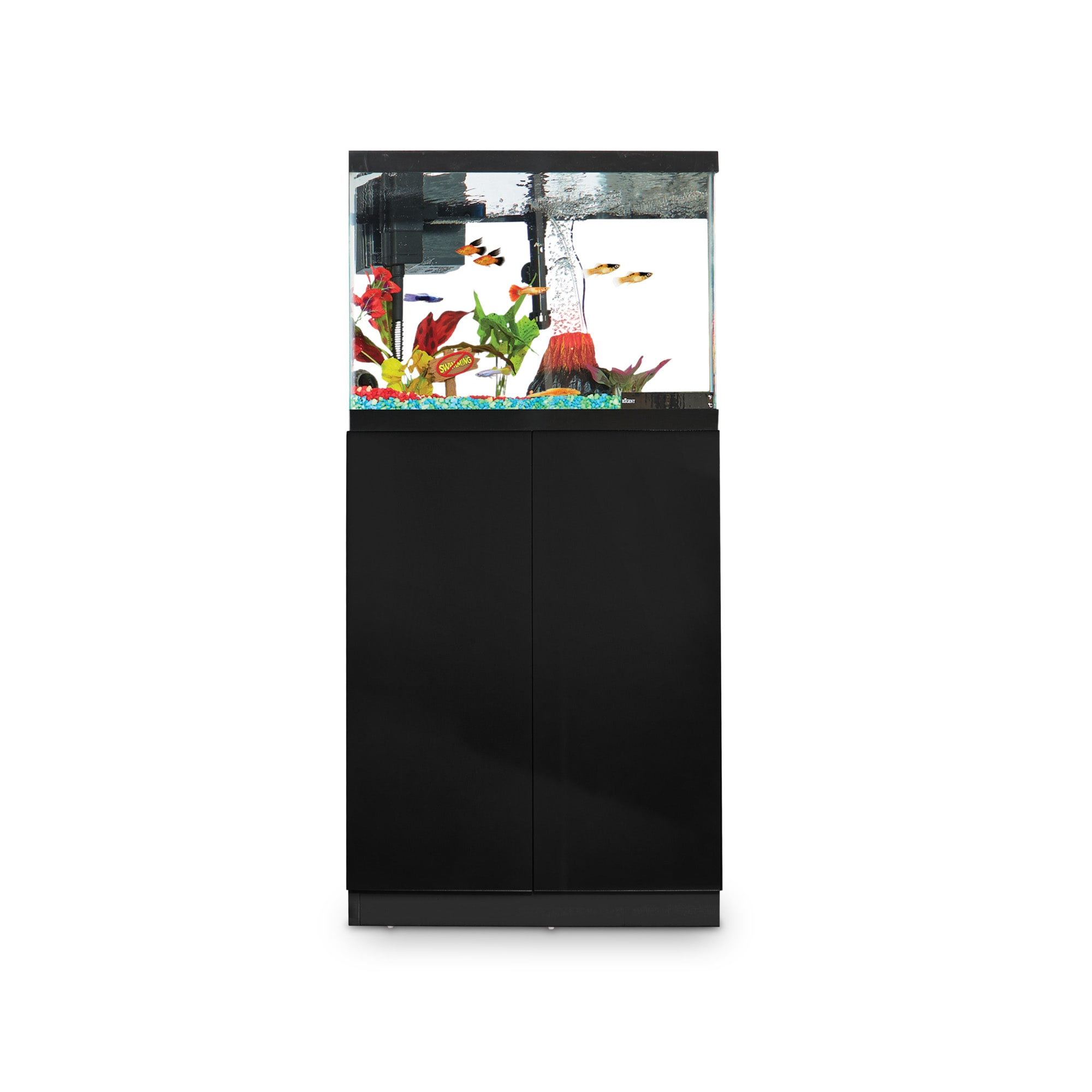 The Imagitarium Black Gloss Fish Tank Stand is a beautiful way to display your aquarium or terrarium. This stylish counter also includes an adjustable shelf and supplies hook so you can easily stow your habitat\\\'s maintenance accessories.
