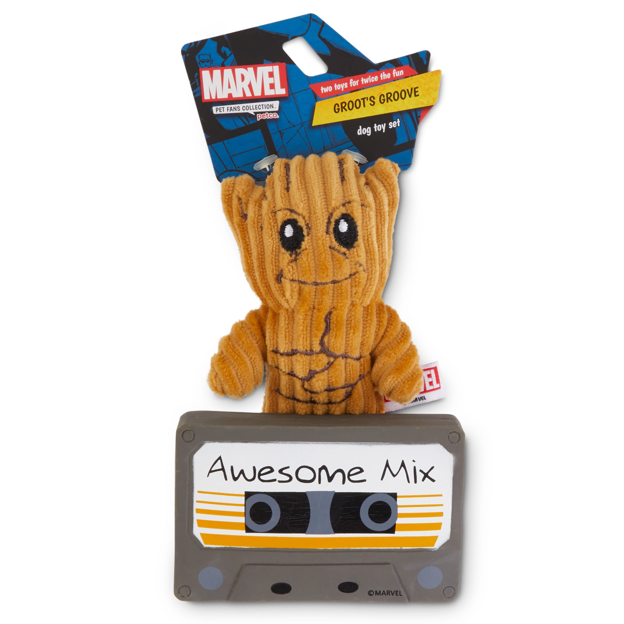 Set Of Dog Stuffed Animals, Marvel Guardians Of The Galaxy Groot S Groove Dog Toy Set X Small Pack Of 2 Petco
