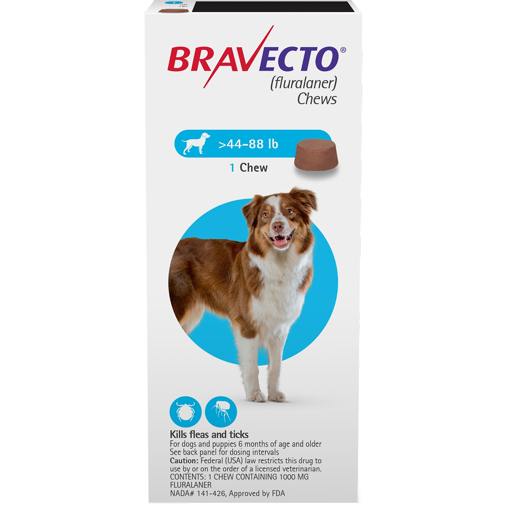 Bravecto Chews For Dogs 44 88 Lbs 3 Month Supply Petco