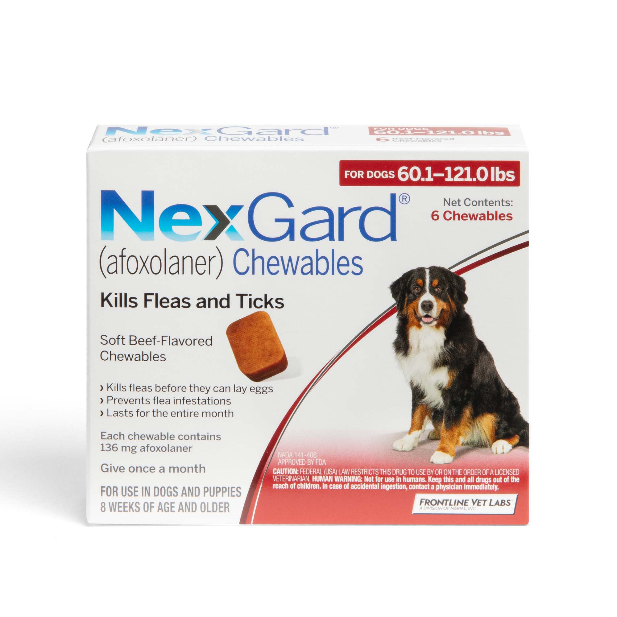 Nexgard Chewables Red For Dogs 60 1 To 121 Lbs 3 Pack Petco