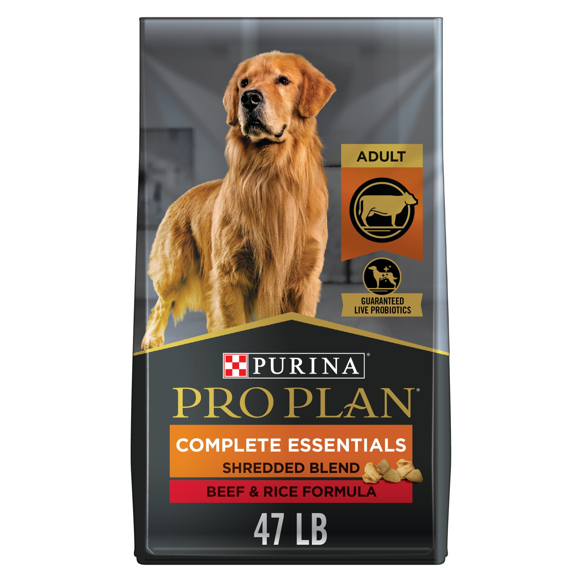 Feed your dog the perfect balance of outstanding nutrition and exceptional taste with Purina Pro Plan Brand Dog Food Shredded Blend Beef & Rice Formula adult dry dog food. We fortify this no chicken dog food with guaranteed live probiotics to support his digestive and immune health. Made with real beef as the first ingredient and rice, an excellent source of carbohydrates for energy, this high-protein dog food doesn\\\'t compromise on nutrition or flavor. Our tasty formula combines hard dog food kibble with tender shredded bites for a unique texture dogs love. Providing 100% complete and balanced nutrition for adult dogs, this adult dog food offers an optimal protein-to-fat ratio to help your dog maintain an ideal body condition, no matter what adventures his day brings. Look to our full line of Purina Pro Plan dog food products, including DEVELOPMENT, ESSENTIALS, SPECIALIZED, SPORT and SENIOR, to find a targeted formula that\\\'s ideal for every member of your four-legged family.