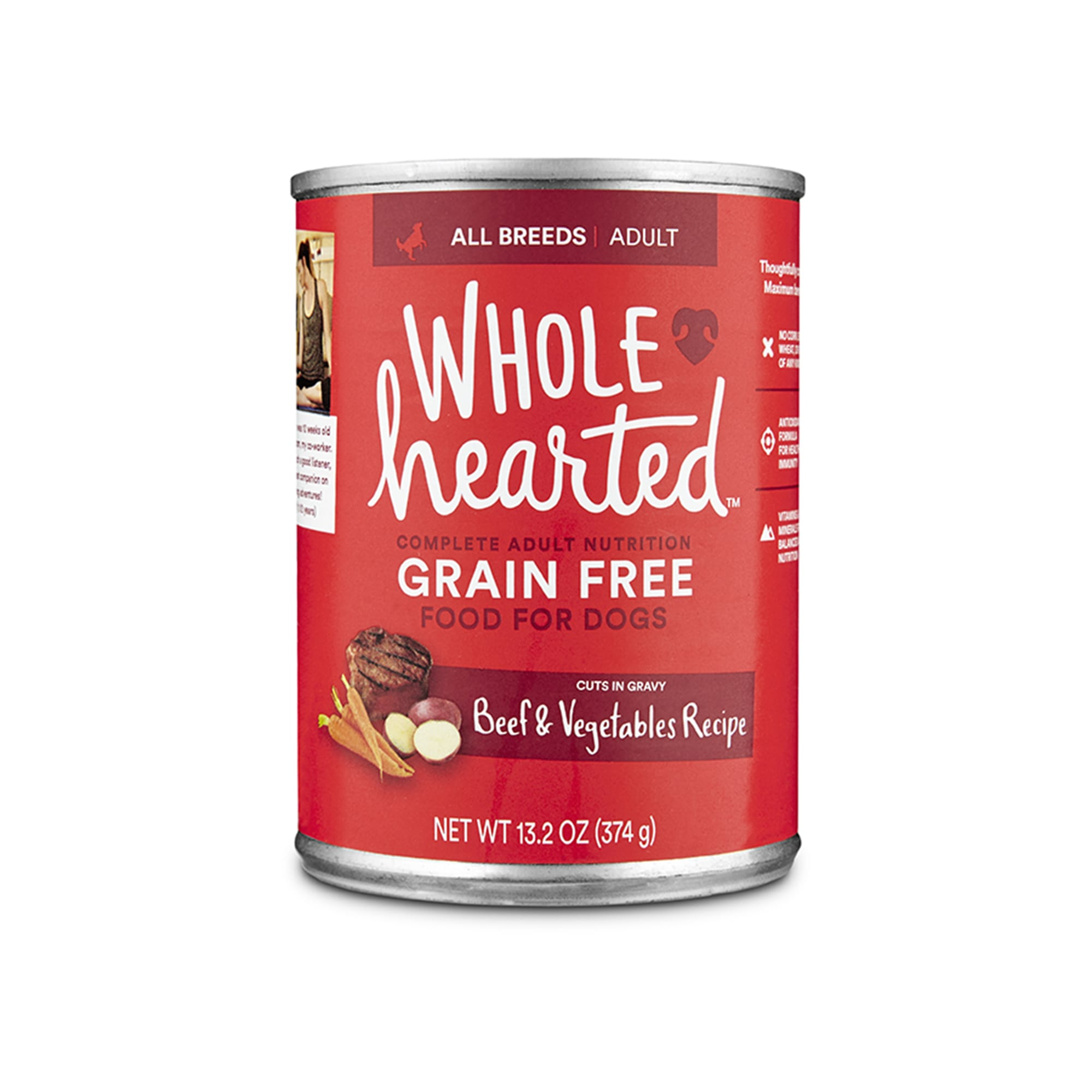 WholeHearted Grain Free Adult Beef and Vegetable Recipe Wet Dog Food, 13.2 oz., Case of 12