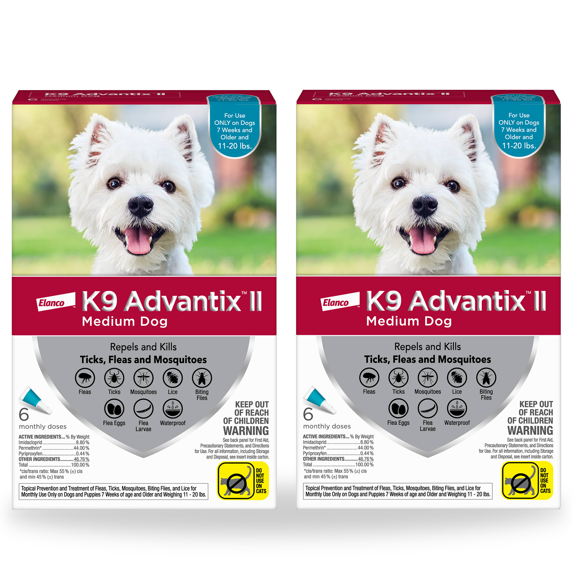 K9 Advantix II Topical Medium Dog Flea & Tick Treatment, 2 Packs of 6, 12 CT -  81520380KIT