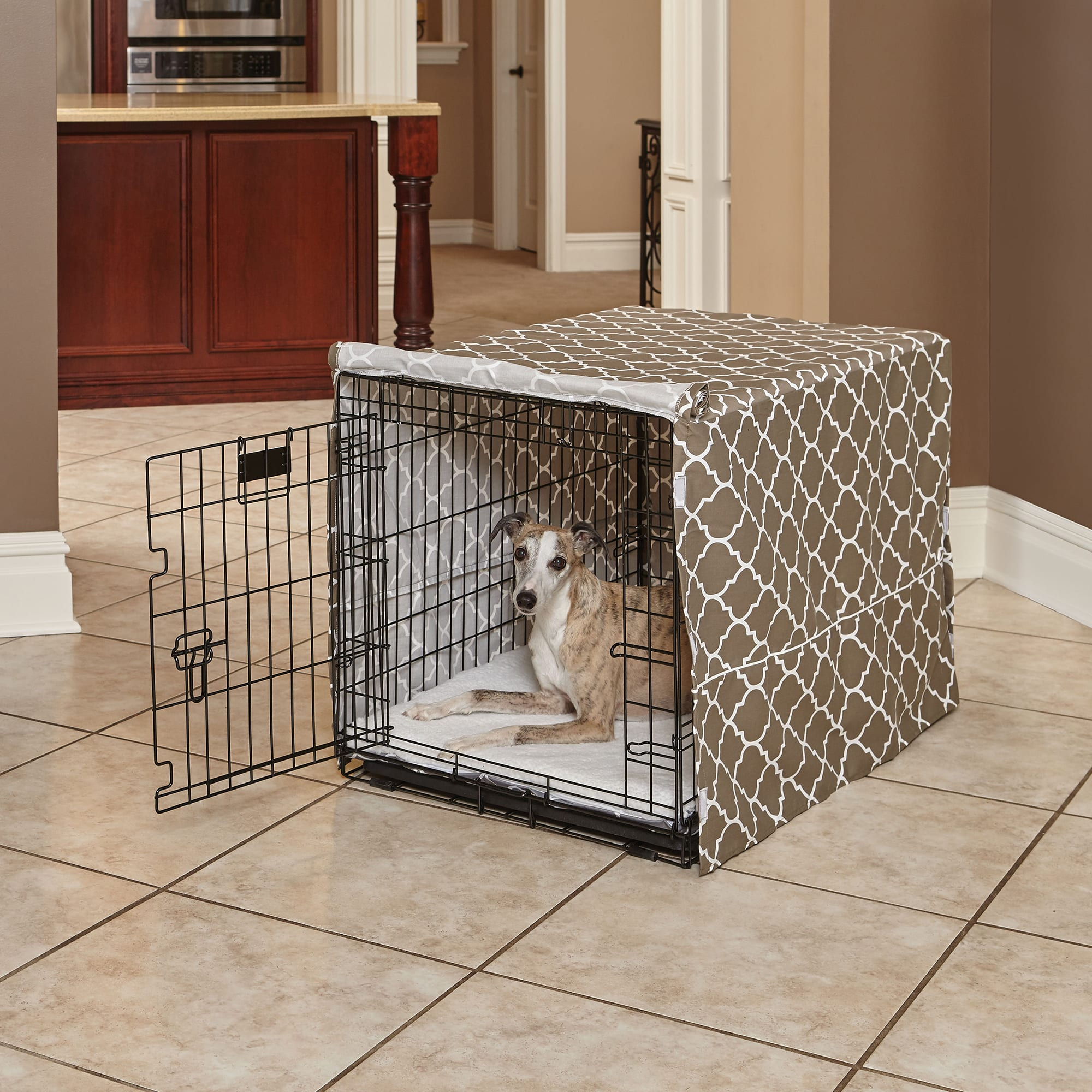 thumbnail 14 - Midwest-Quiet-Time-Defender-Brown-Crate-Cover-for-Dogs