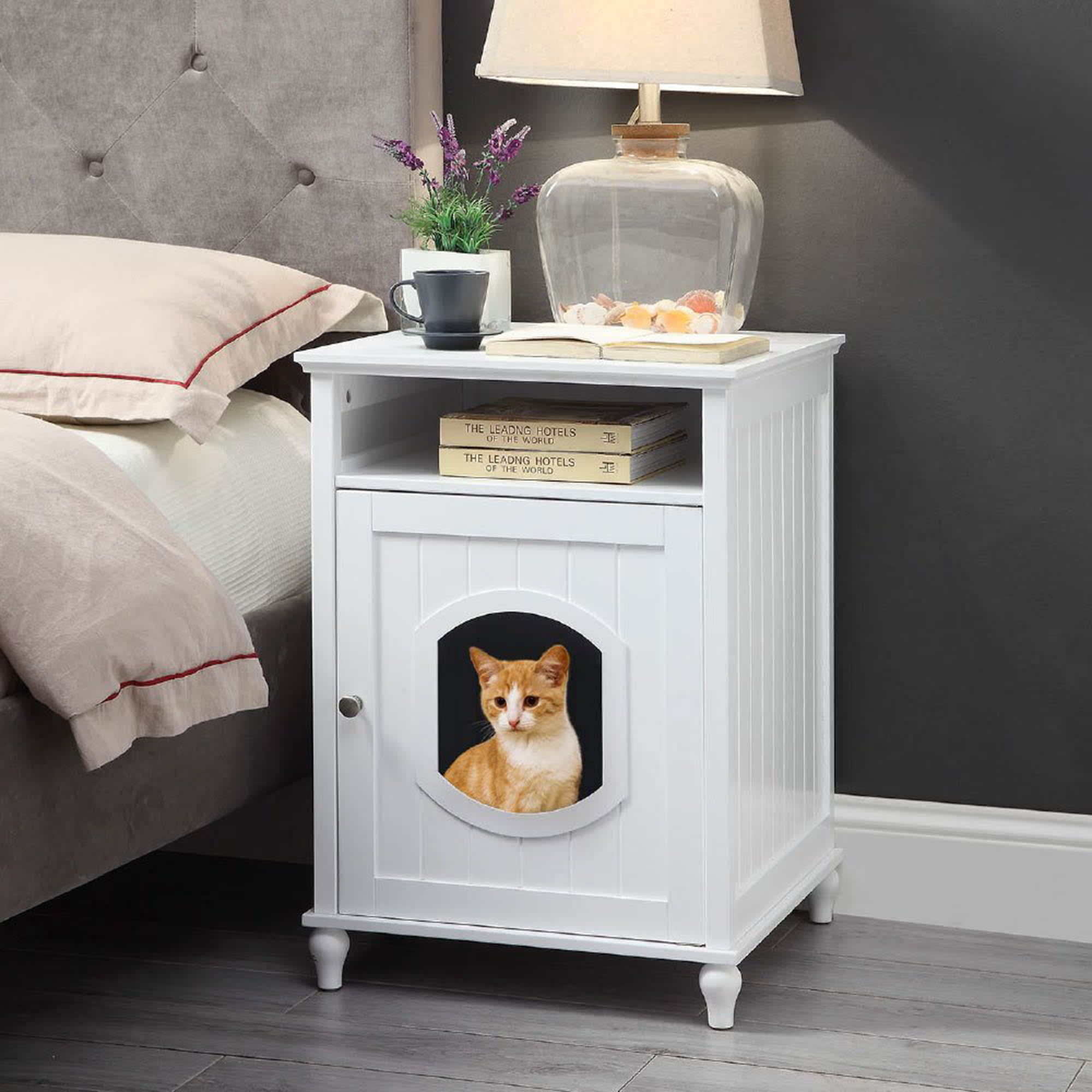 White Wooden Litter Box Cat Furniture