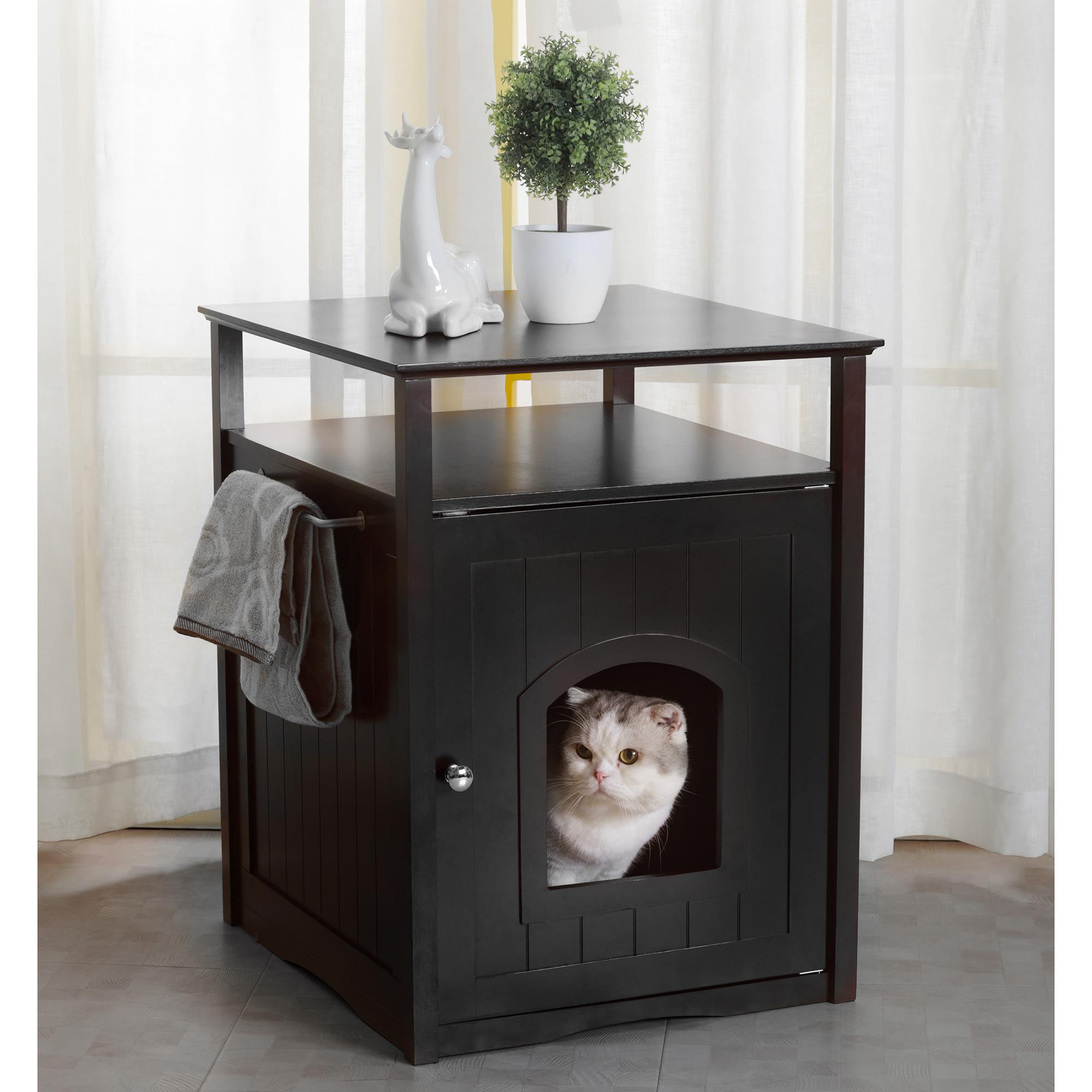 Zoovilla Cat Washroom Litter Box Cover Night Stand Black Pet House 20 51 L X 19 09 W X 25 04 H Petco