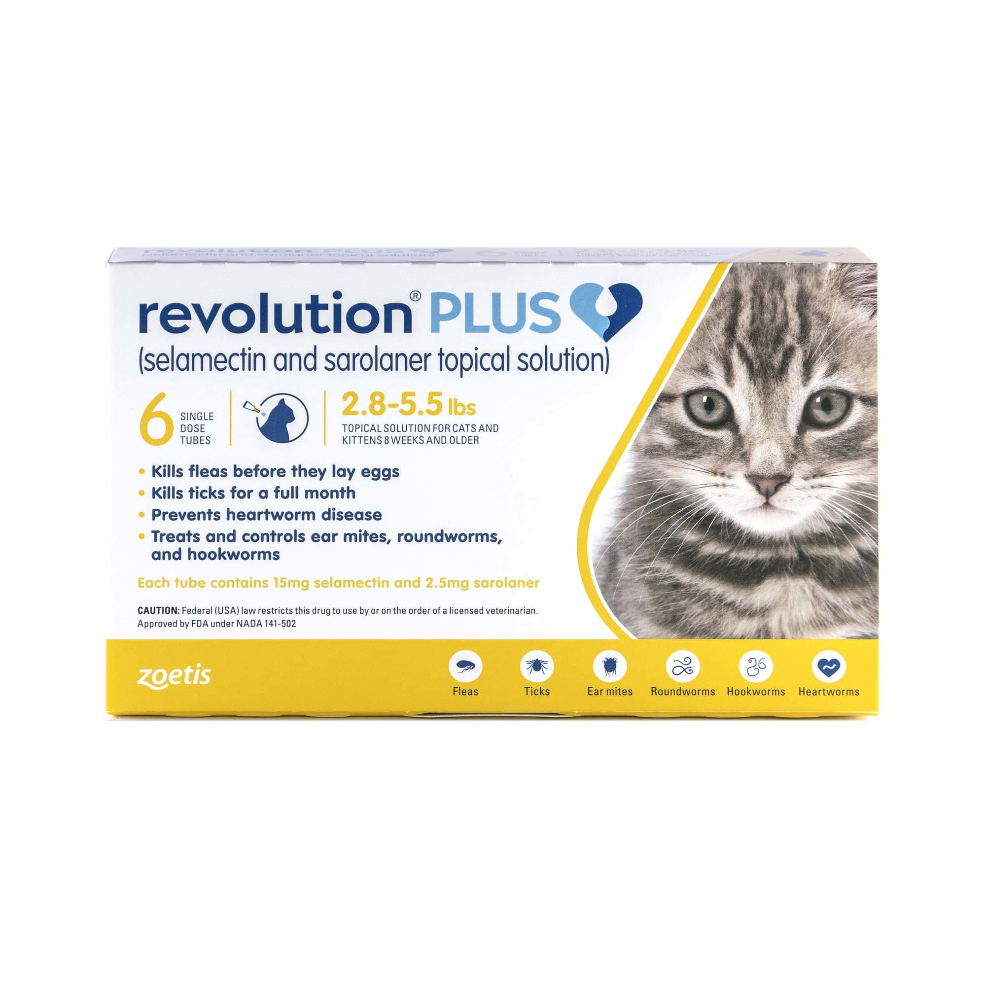 Revolution Plus Topical Solution 2 8 5 5lbs Cat 3 Month Supply Petco