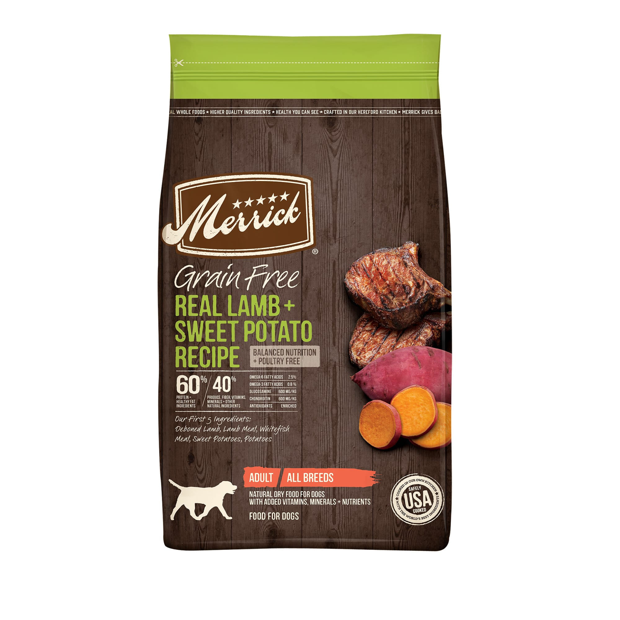 The Best Dog Ever deserves the Best Food Ever. That\\\'s why Merrick\\\'s grain-free recipes provide only the best to your best friend in quality, nutrition and taste. Merrick grain-free recipes start with real deboned meat, fish or poultry as the 1 ingredient for a high protein, nutritious grain-free meal, along with farm-fresh fruits and vegetables like sweet potatoes, blueberries, peas and more.