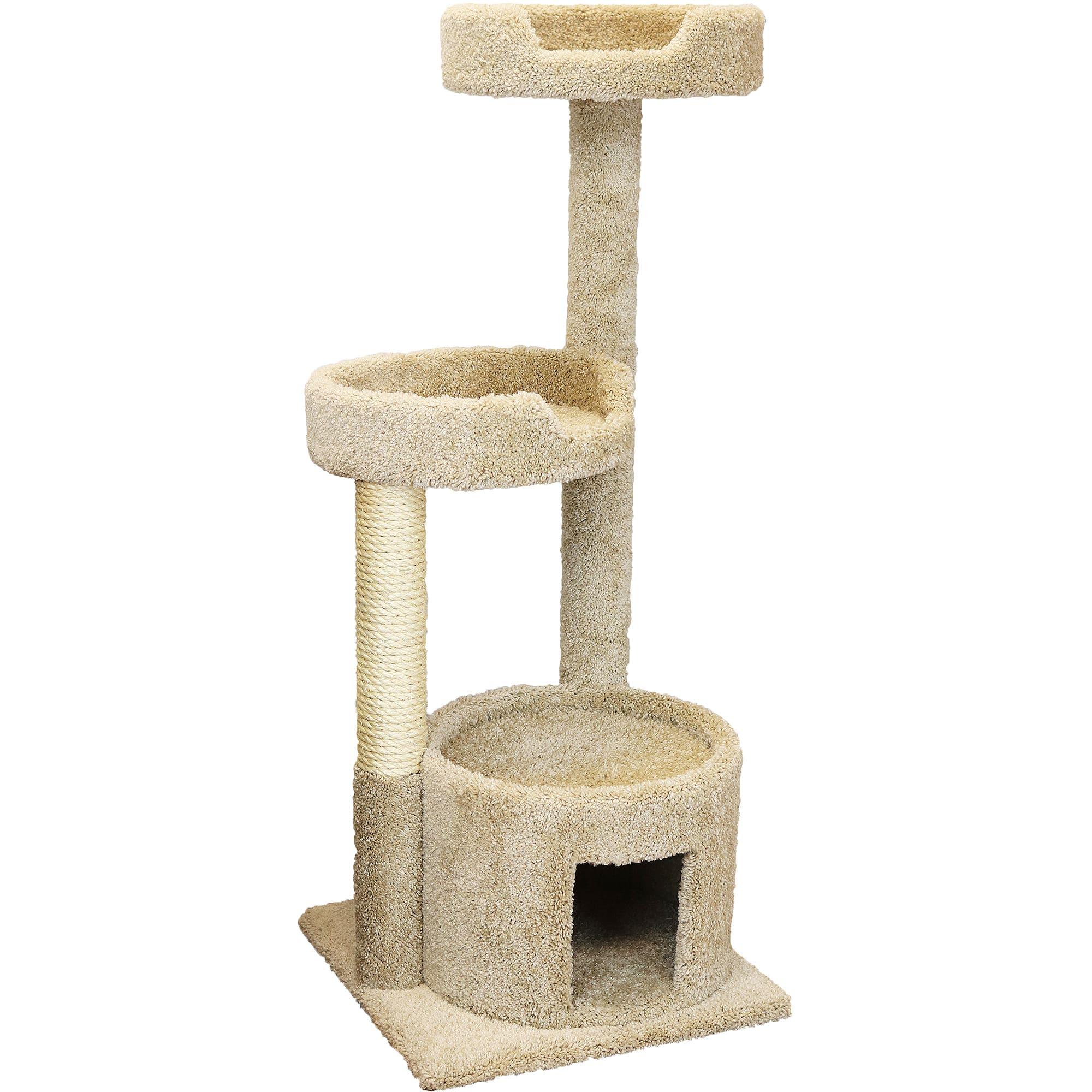 New Cat Condos 3 Level House Tan Cat Tree 50 H Petco