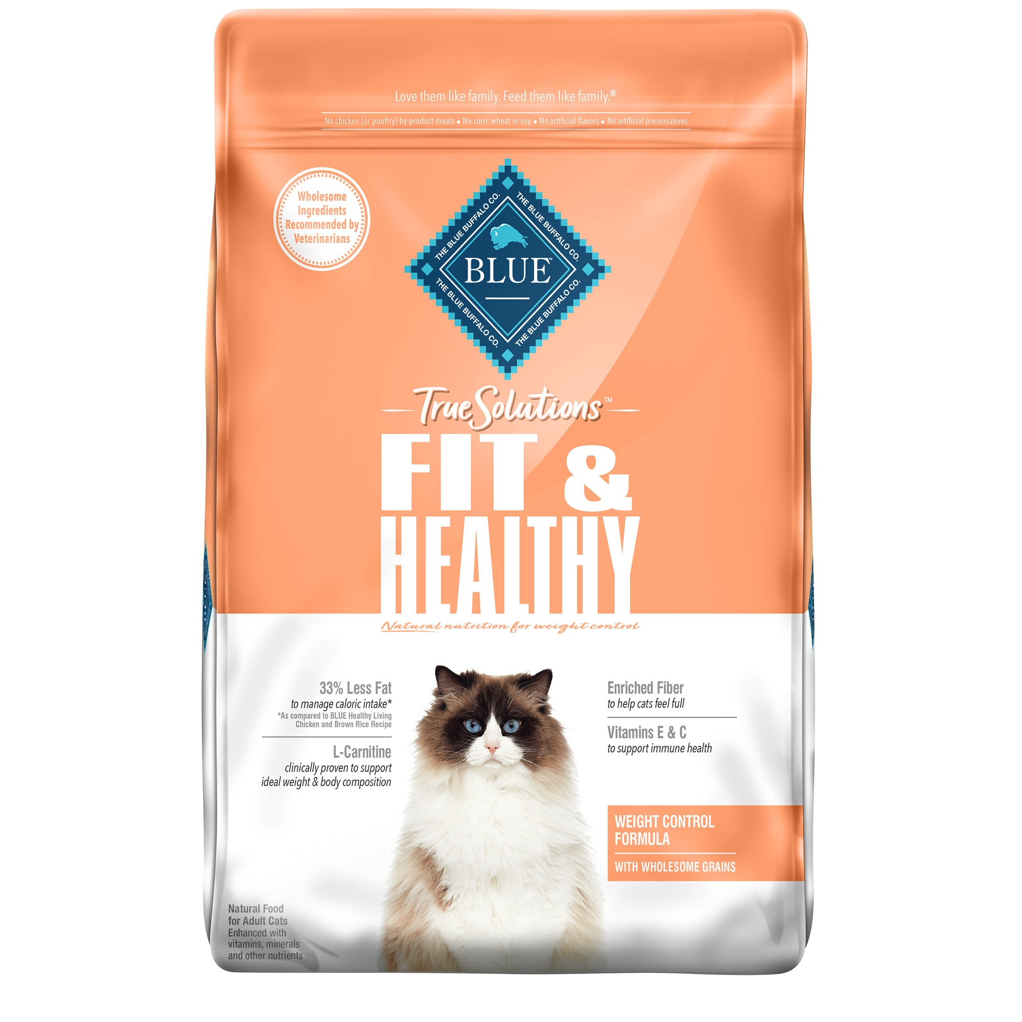 Natural healthy cat food recipes Blue Buffalo True Solutions Fit Healthy Chicken Recipe Natural Weight Control Adult Dry Cat Food 11 Lbs Petco
