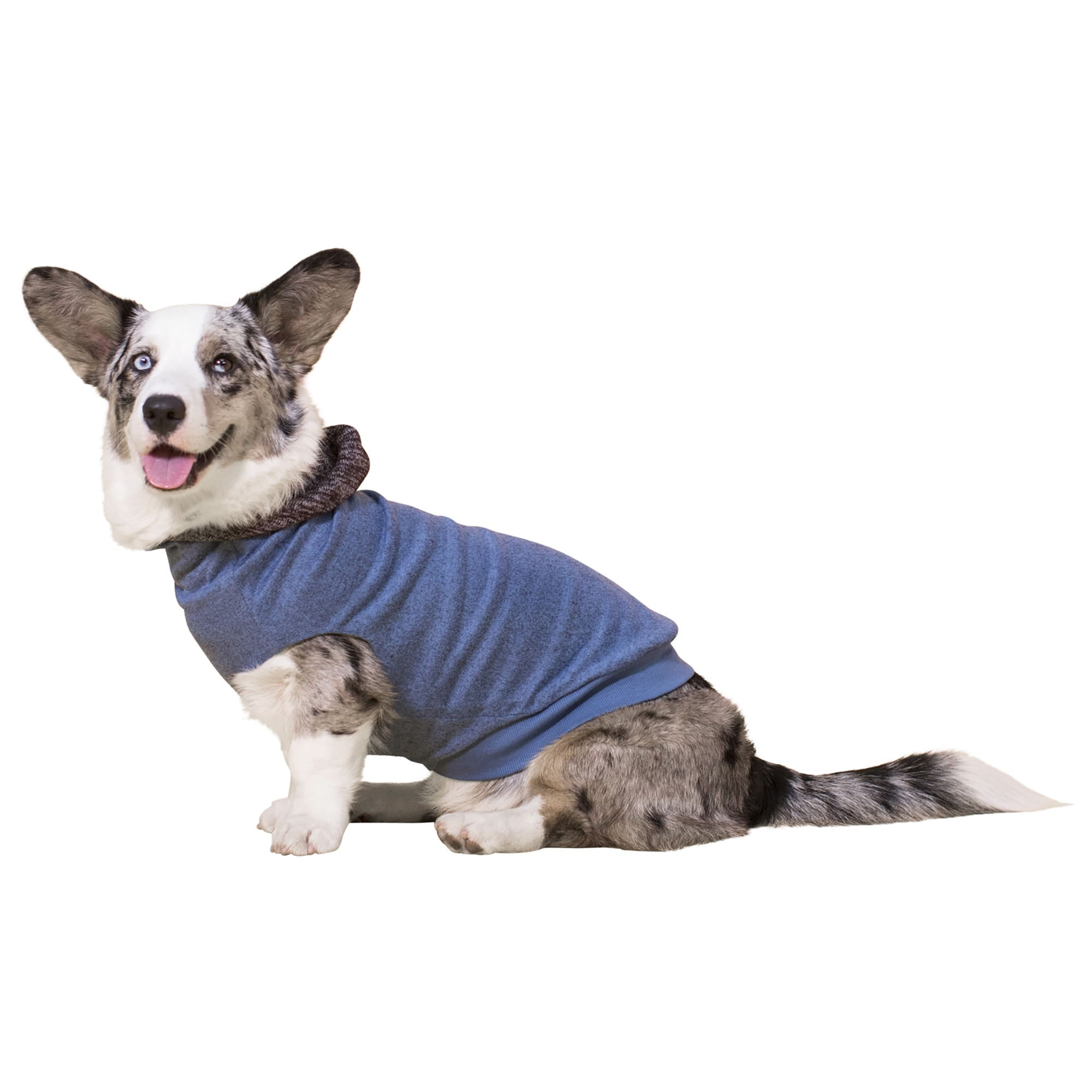 This REVERSIBLE lightweight sweater gives your pup two distinct looks. The tailored design will fit your dog so well you will think it was custom-made for them. One side is a soft hacci knit in light blue with a reverse of black and gray glenplaid sweater knit, complete with a soft contrast knit hood.