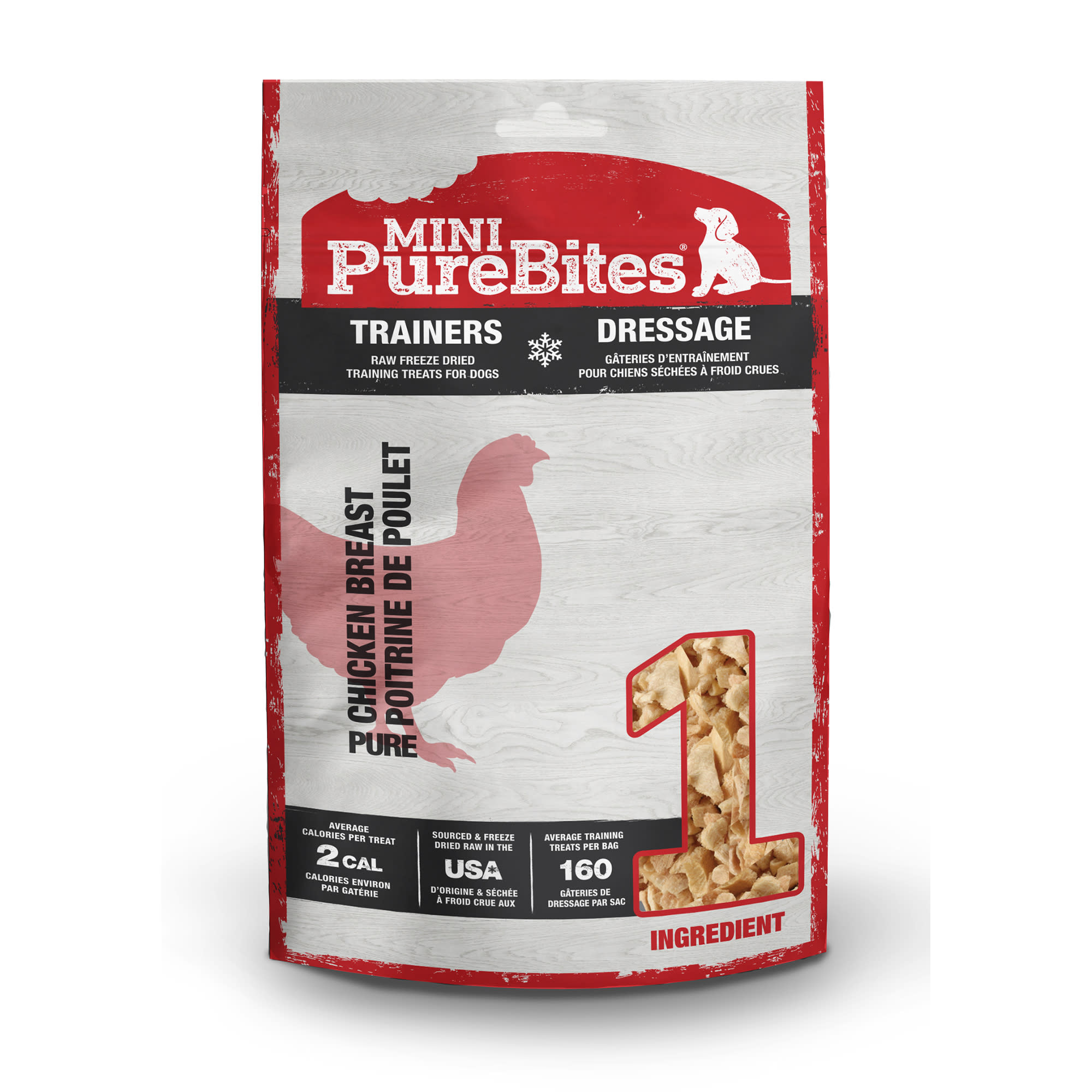 Go ahead, turn the bag around and look at our ingredients. Mini-PureBites RAW Freeze Dried Chicken Breast Trainers are made with only 1 ingredient; 100% Pure USA Sourced & Made Human Grade RAW Chicken Breast. Mini-PureBites Trainers offer pet parents the chance to train their dogs or treat their small dogs with specially cut pieces of RAW Chicken Breast.