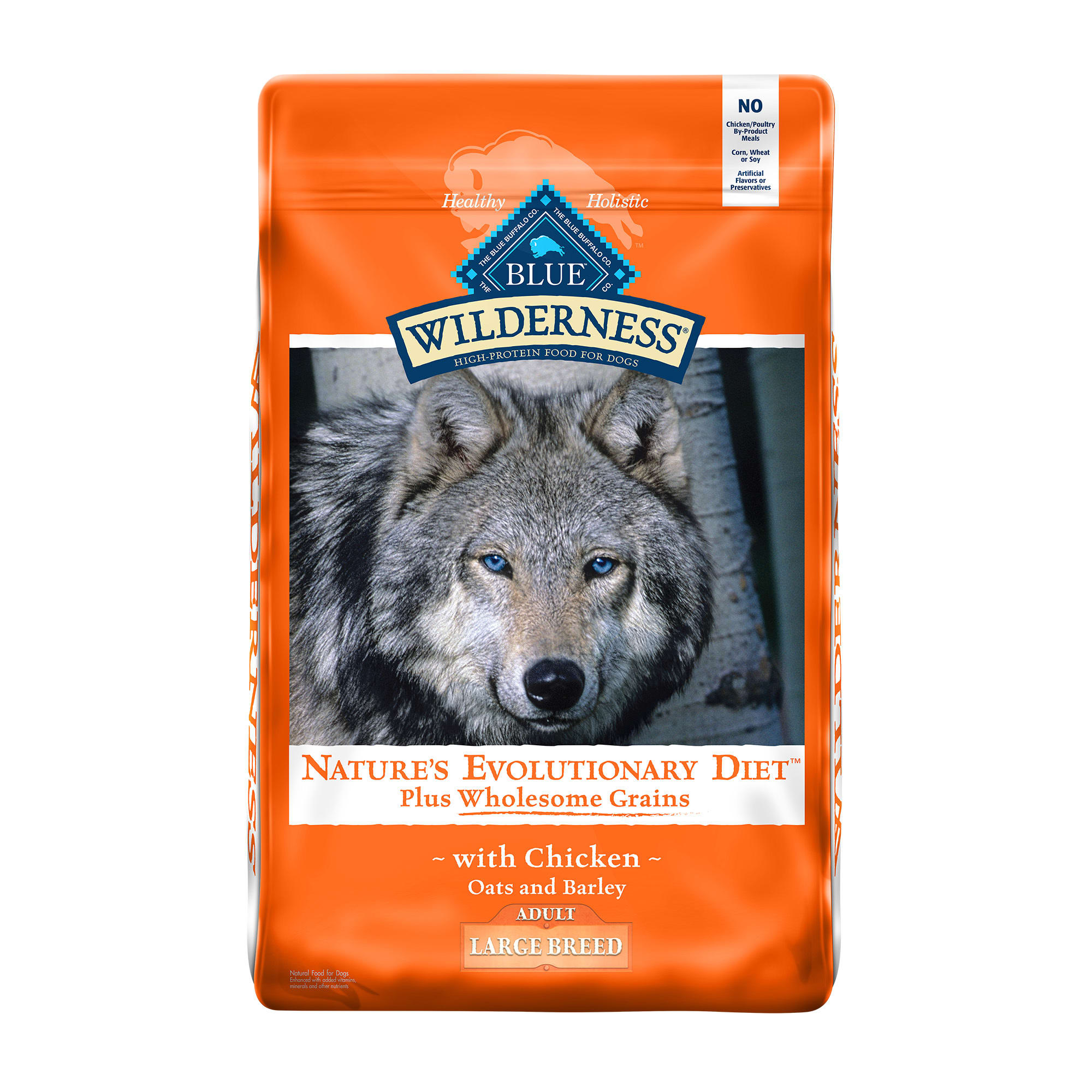 BLUE Wilderness natural dry dog food satisfies the spirit of the wolf in your canine with more of the meat dogs love and is enhanced with vitamins, minerals and other nutrients. This high protein large breed dog food starts with delicious, protein-rich chicken, contains wholesome grains and features antioxidant-rich LifeSource Bits. Specially formulated for large breed dogs, this recipe contains glucosamine, chondroitin and EPA to help support your large dog\\\'s healthy joint function and overall mobility.