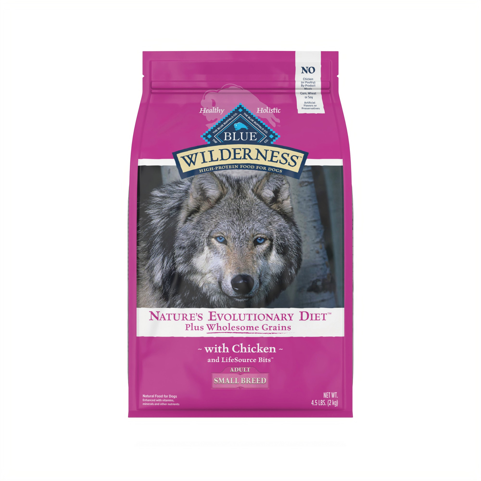 BLUE Wilderness natural dry dog food satisfies the spirit of the wolf in your canine with more of the meat dogs love and is enhanced with vitamins, minerals and other nutrients. This high protein small breed dog food starts with delicious, protein-rich chicken, contains wholesome grains and features antioxidant-rich LifeSource Bits. Specially formulated for small breed dogs, the high-quality protein plus complex carbohydrates support your small dog\\\'s high energy needs.