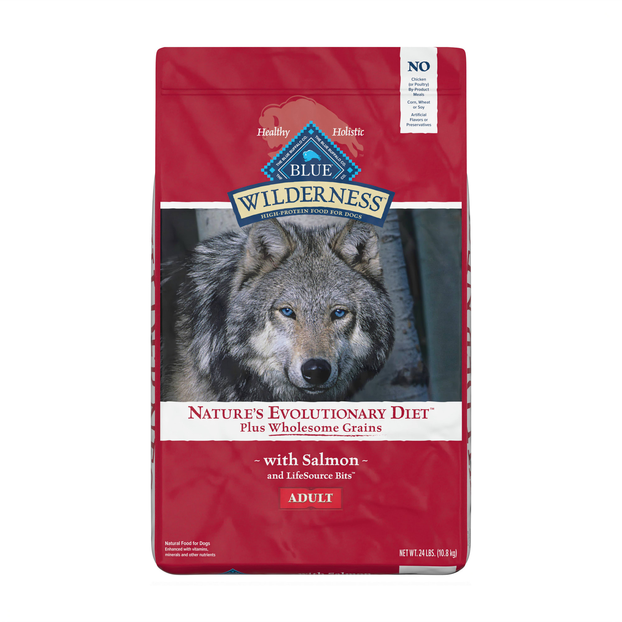 BLUE Wilderness natural dry dog food satisfies the spirit of the wolf in your canine with more of the meat dogs love and is enhanced with vitamins, minerals and other nutrients. This high protein dog food starts with delicious, protein-rich salmon, contains wholesome grains and features antioxidant-rich LifeSource Bits. Specially formulated for adult dogs, the high-quality protein plus complex carbohydrates help support your dog\\\'s energy needs.