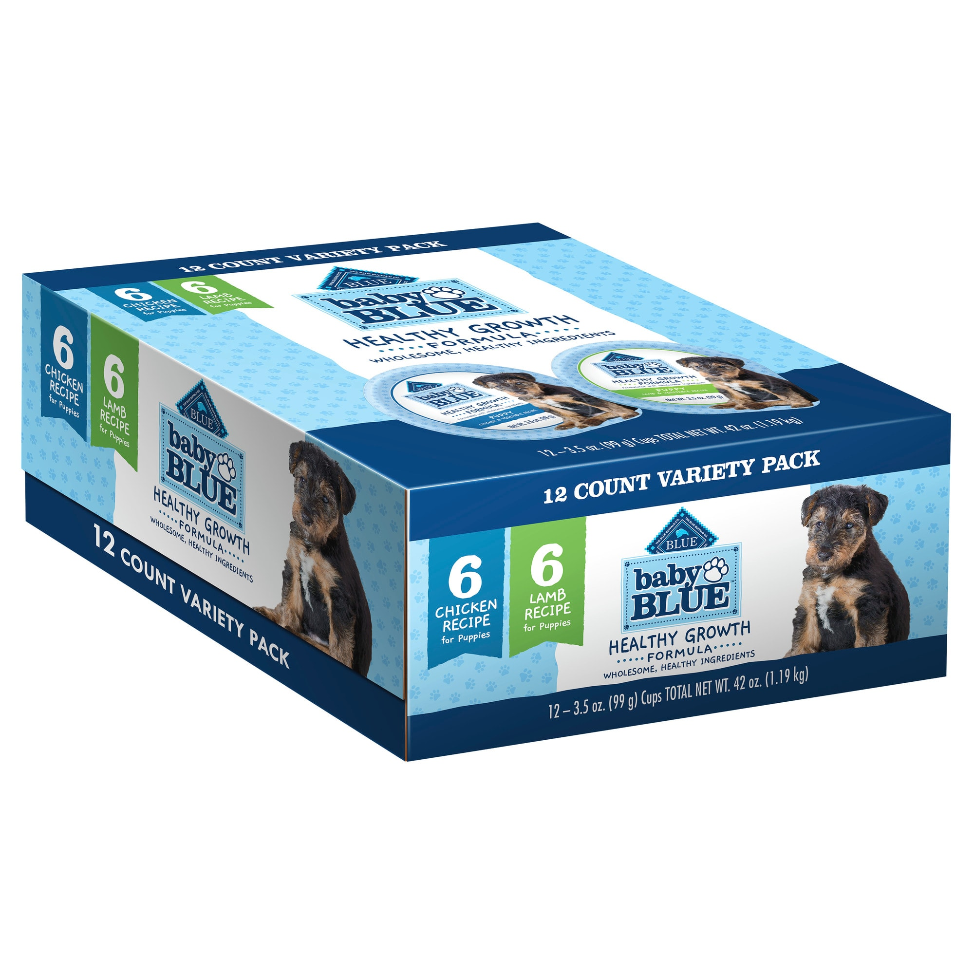 Every pet parent wants what\\\'s best for their baby. That\\\'s why Baby BLUE single-serve cups for puppies feature high-quality, natural ingredients enhanced with vitamins, minerals and other nutrients to get your new furry friend started on the right paw. Starting with real chicken, plus brown rice, fruits and vegetables, this wet dog food features the ingredients that you can trust to keep your puppy powered with the wholesome nutrition needed for healthy growth and play.