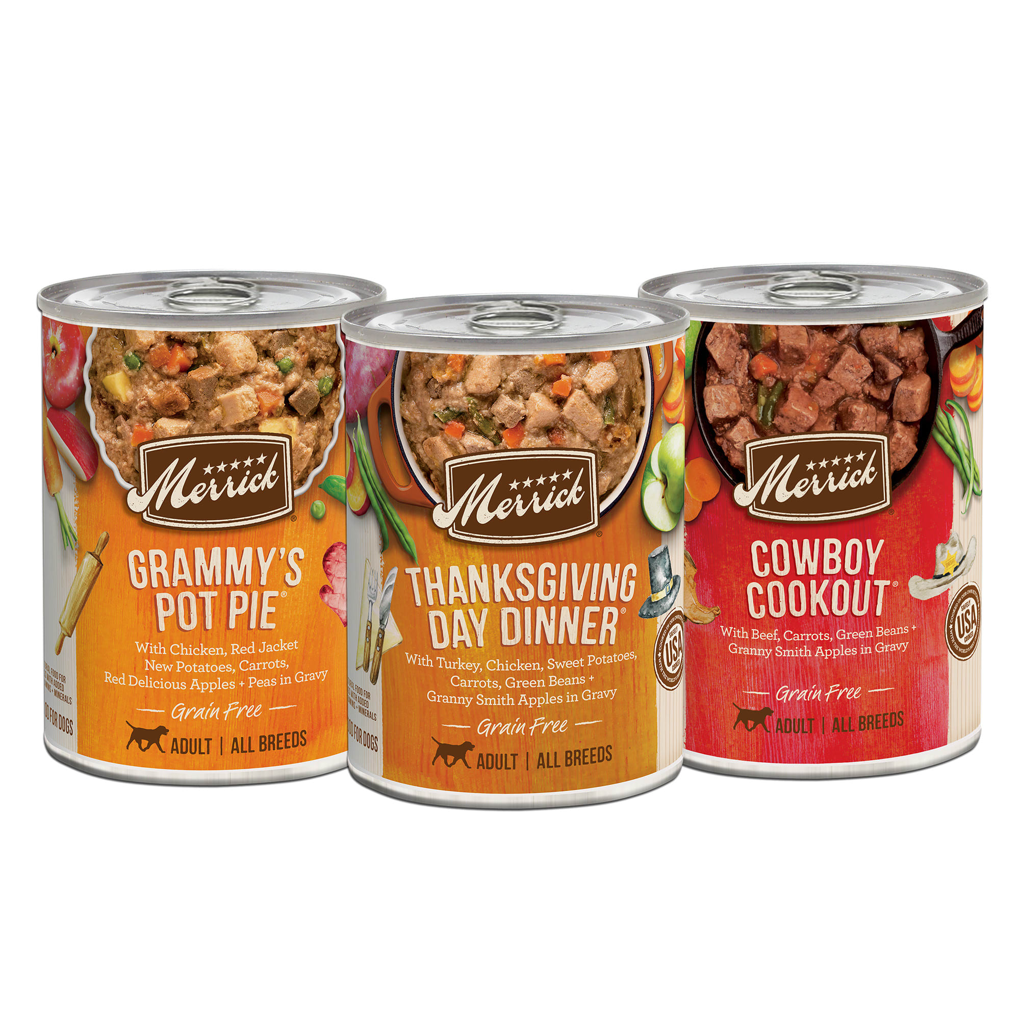 Merrick Grain Free Favorites Wet Dog Food Variety Pack features four cans of each of the three most popular Merrick wet dog food recipes, including Grammy\\\'s Pot Pie, Thanksgiving Day Dinner, and Cowboy Cookout. Every natural dog food recipe in this grain free canned dog food variety pack starts with deboned beef, chicken, or turkey as the first ingredient and is made with real whole foods like potatoes, carrots, and apples. This grain free wet dog food with real meat is made without artificial colors, flavors, or preservatives. All Merrick dog food recipes are crafted in Merrick\\\'s own kitchen in Hereford, TX and cooked in the USA.