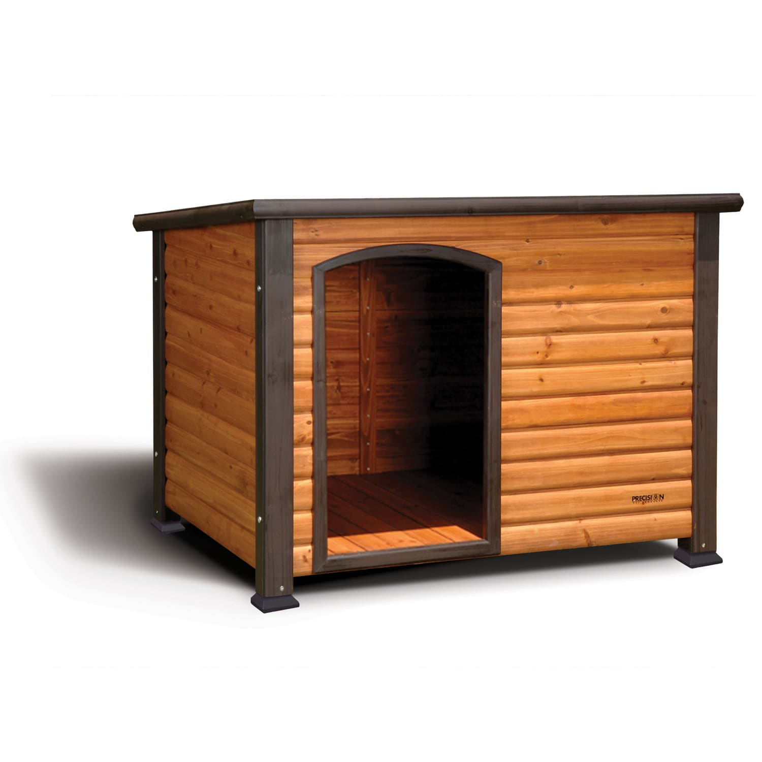 Comfort and function in one handsome dog house!Our Precision Pet Outback Log Cabin provides shelter during the winter and shade during the summer in a charming design that looks great in any backyard.Solid wood construction.Cedar colored stain on solid fir wood. Green stain on roof.Easily assembled in minutes.Raised floor helps keep your pet dry.