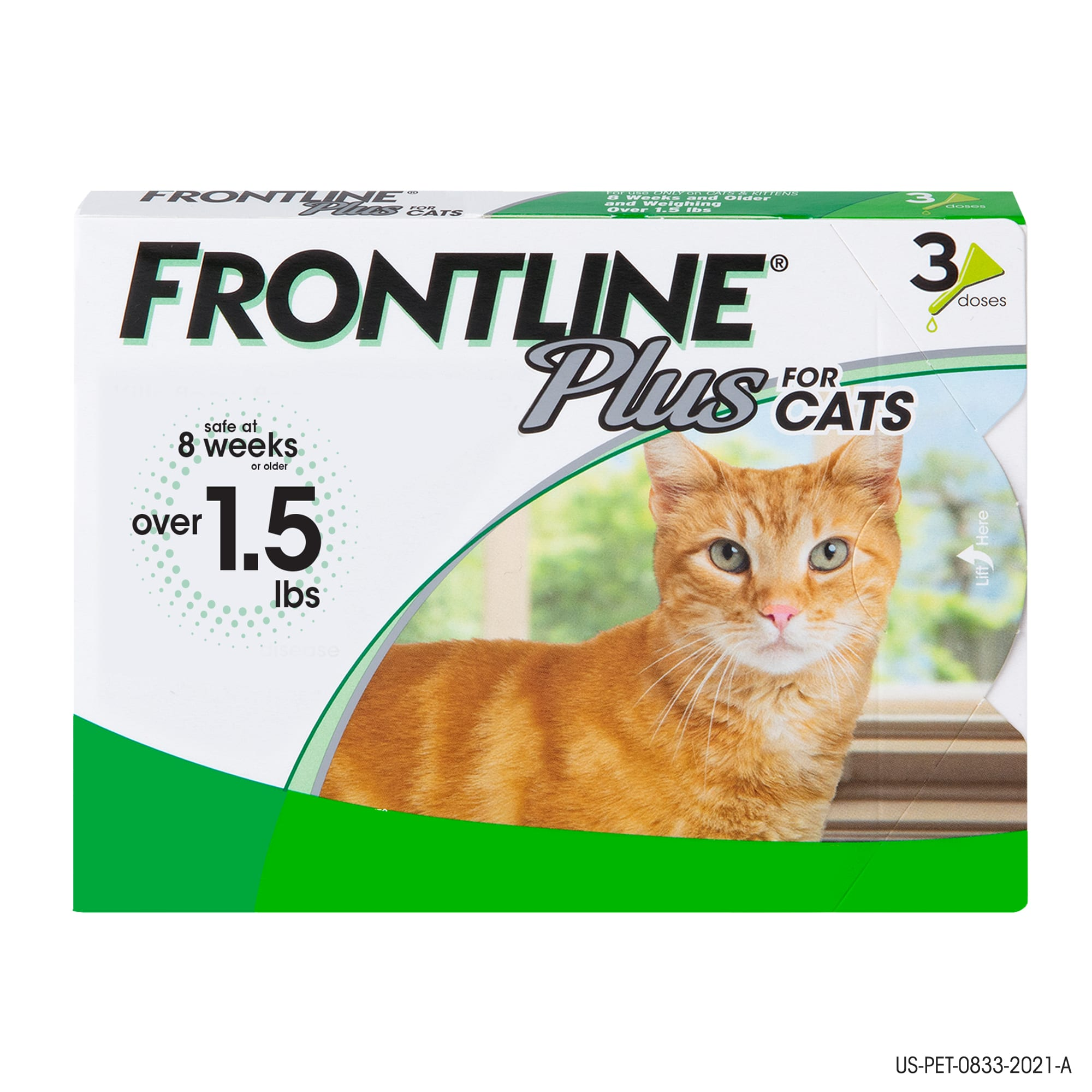 Frontline Plus Flea And Tick Treatment For Cats Over 1 5 Lbs 3 Treatments Petco